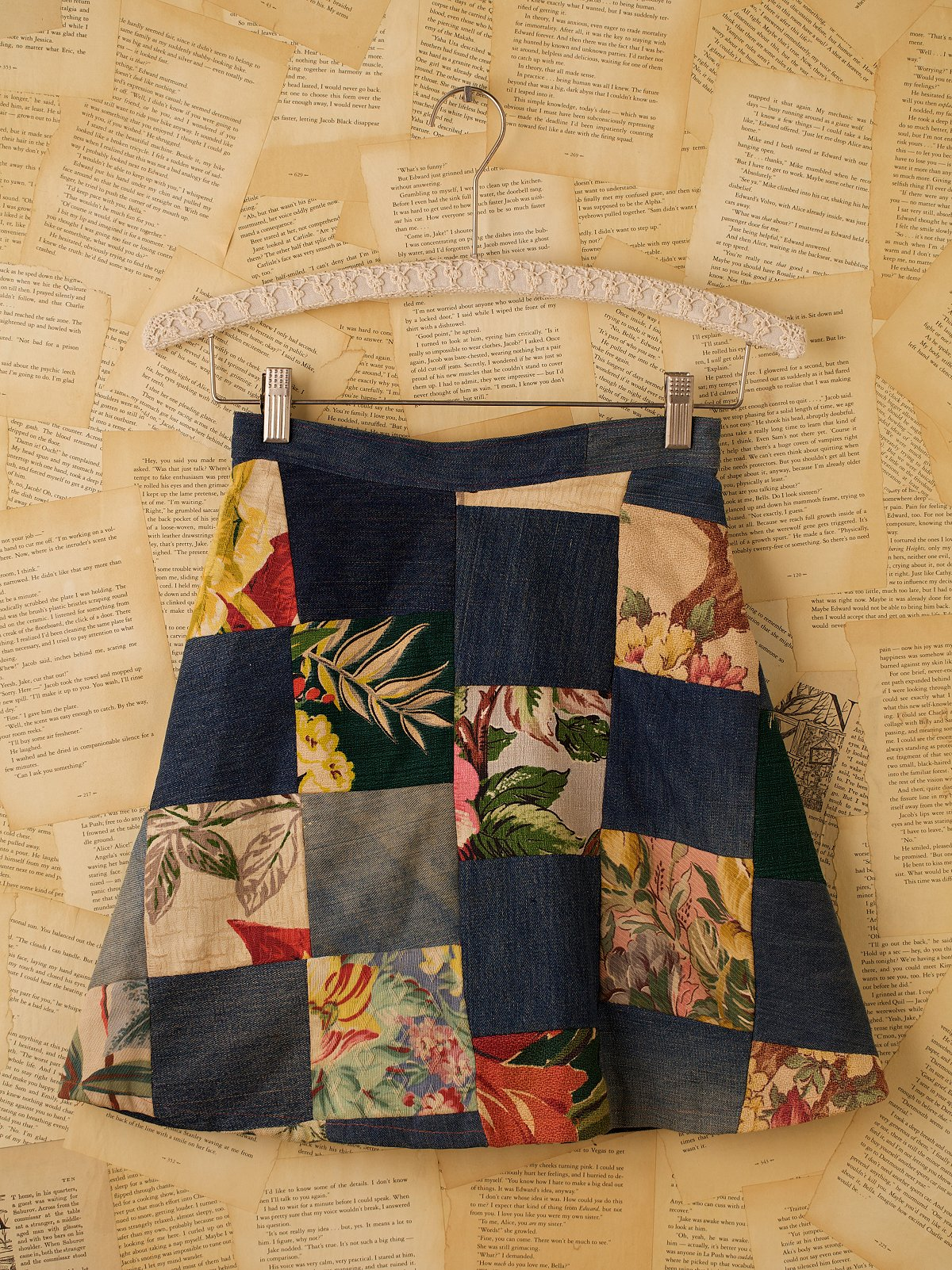 Vintage Handmade Patched Denim Skirt