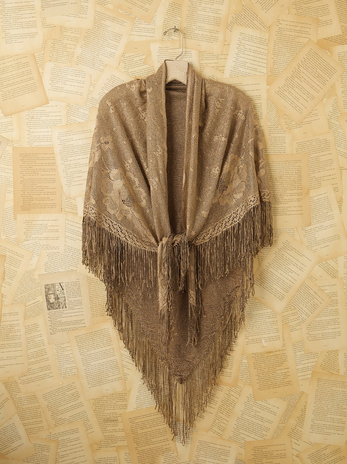 Vintage Gold Shawl with Fringe