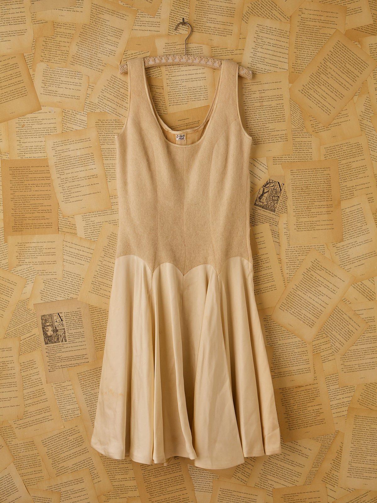 Vintage Cream Angora and Satin Dress