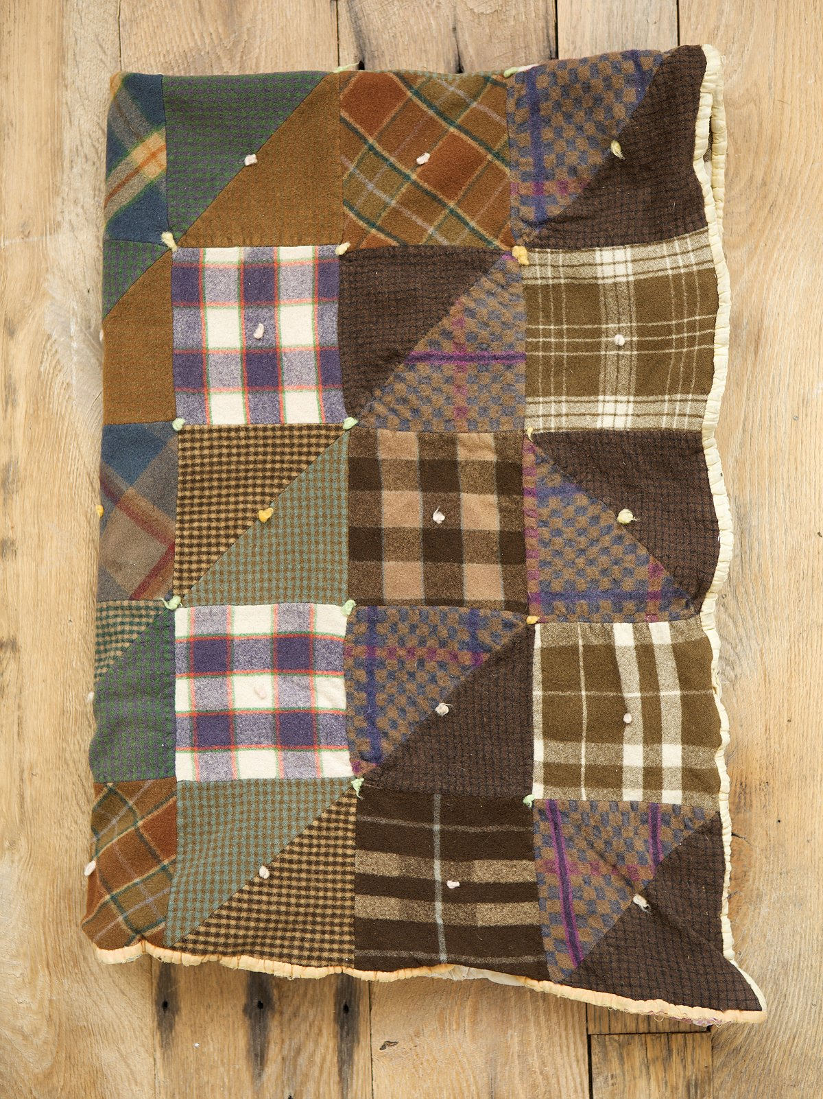 Vintage Homemade Patchwork Wool Quilt