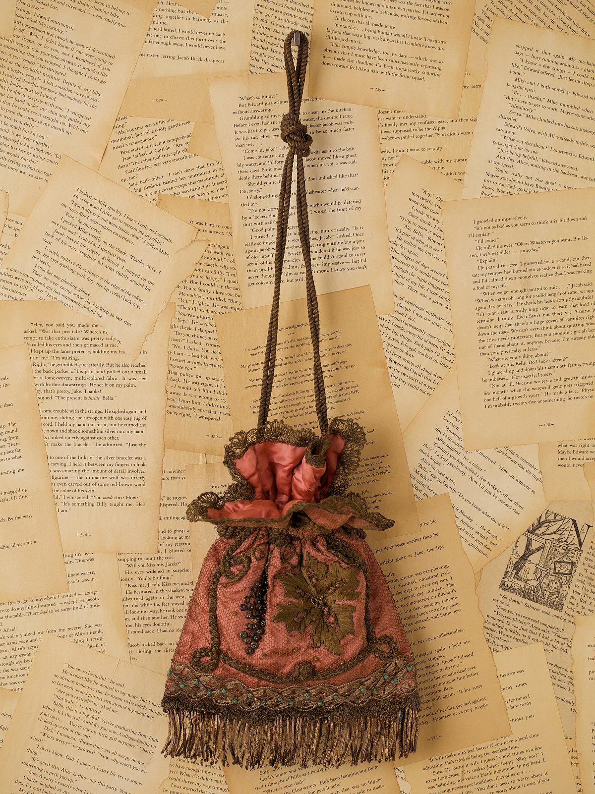 Vintage Net Lace Silk Beaded Purse