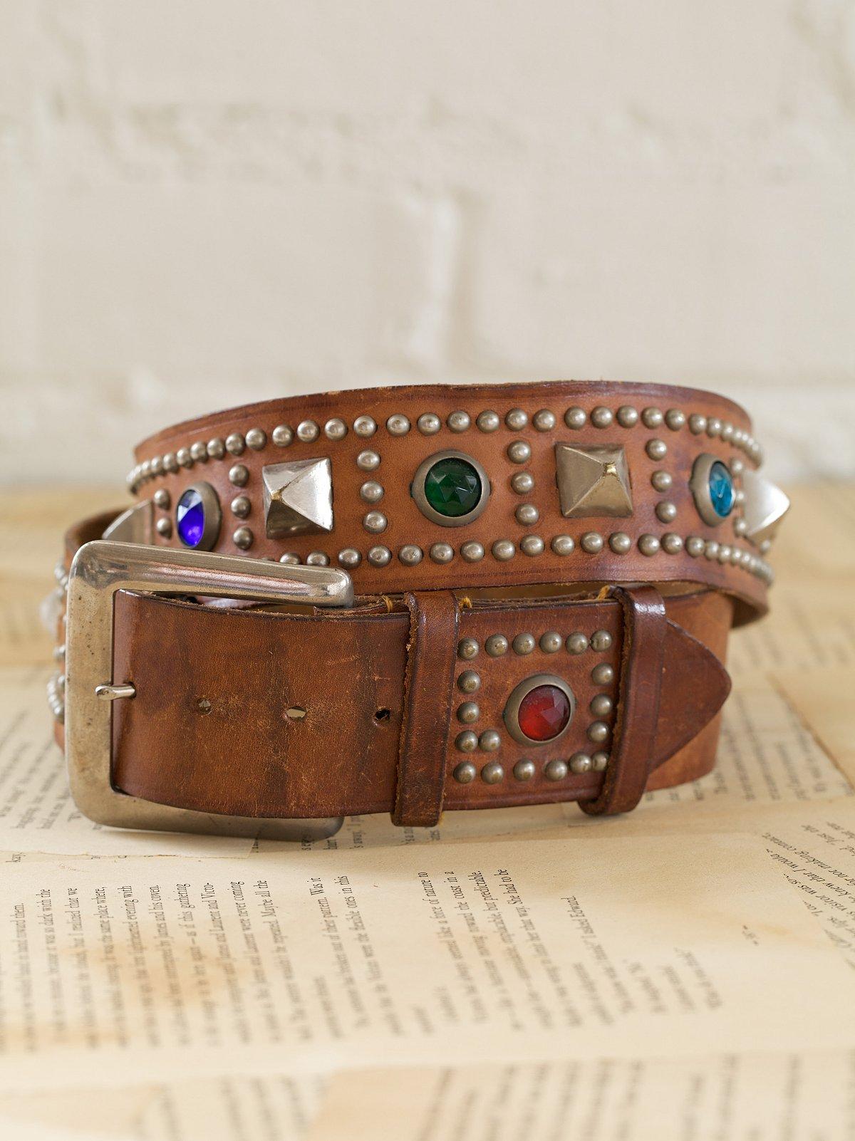 Vintage Leather Studded Motorcycle Belt