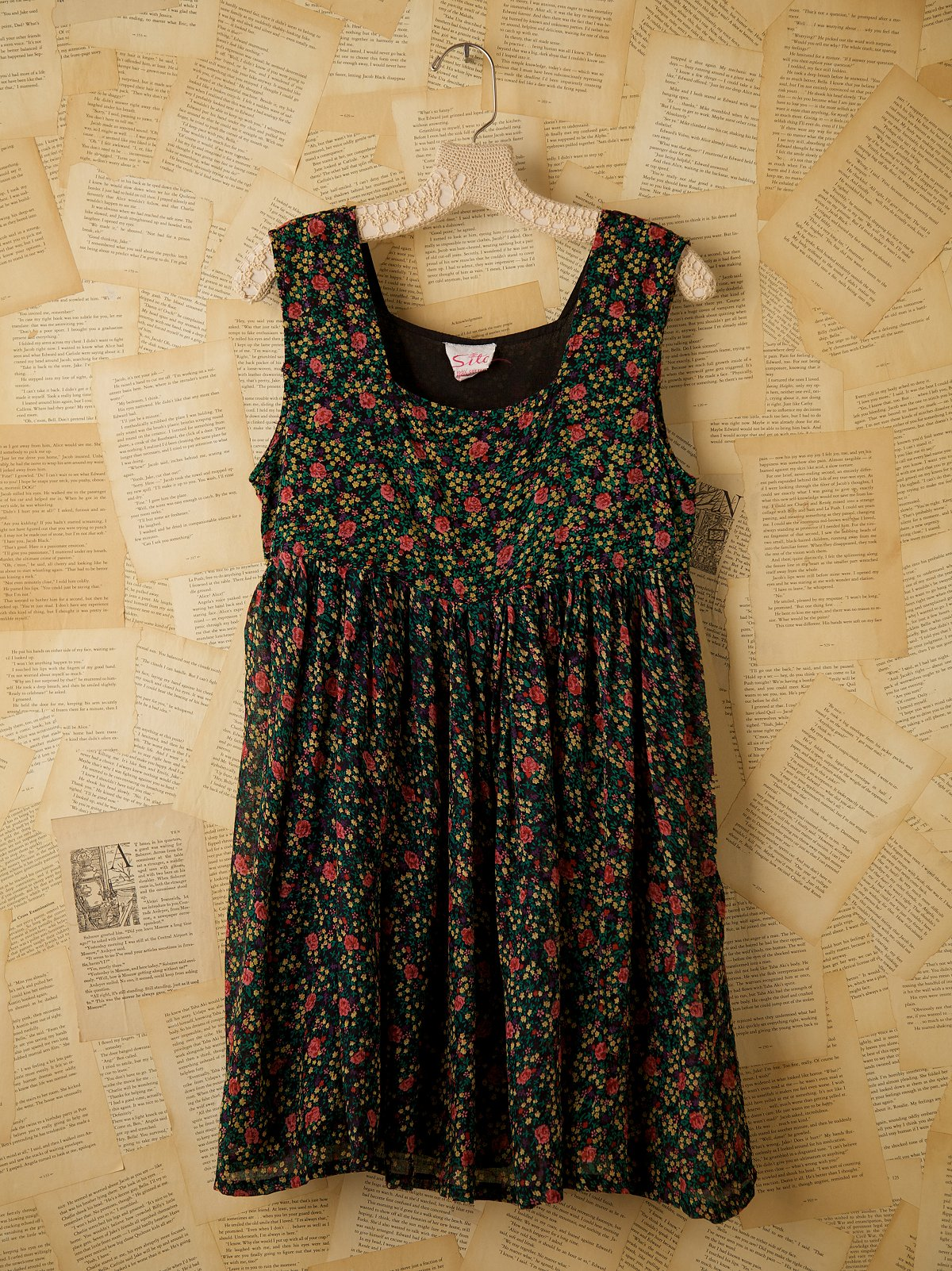 Vintage Floral Printed Babydoll Dress
