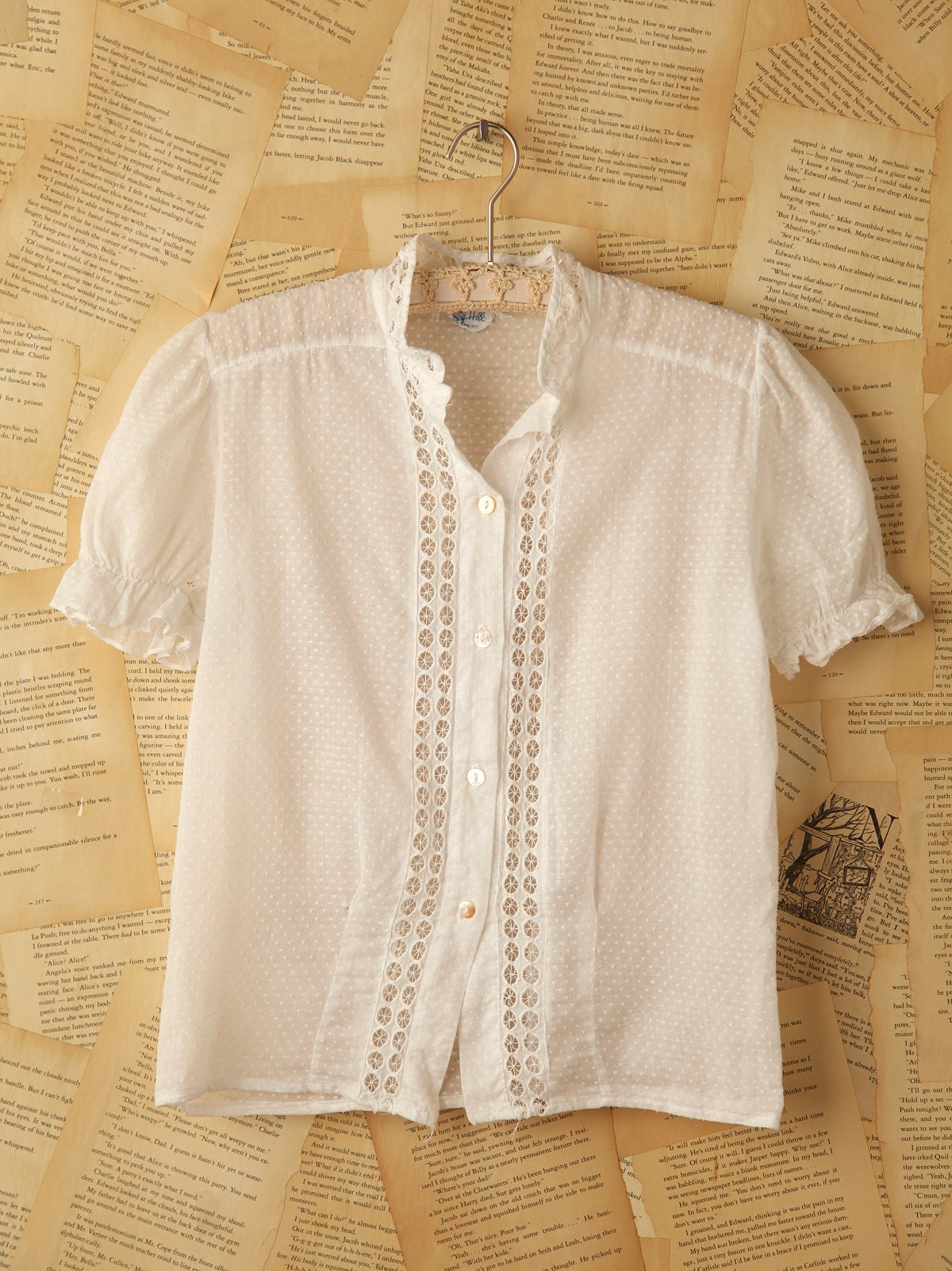 Vintage White Lace Top with Polka Dots