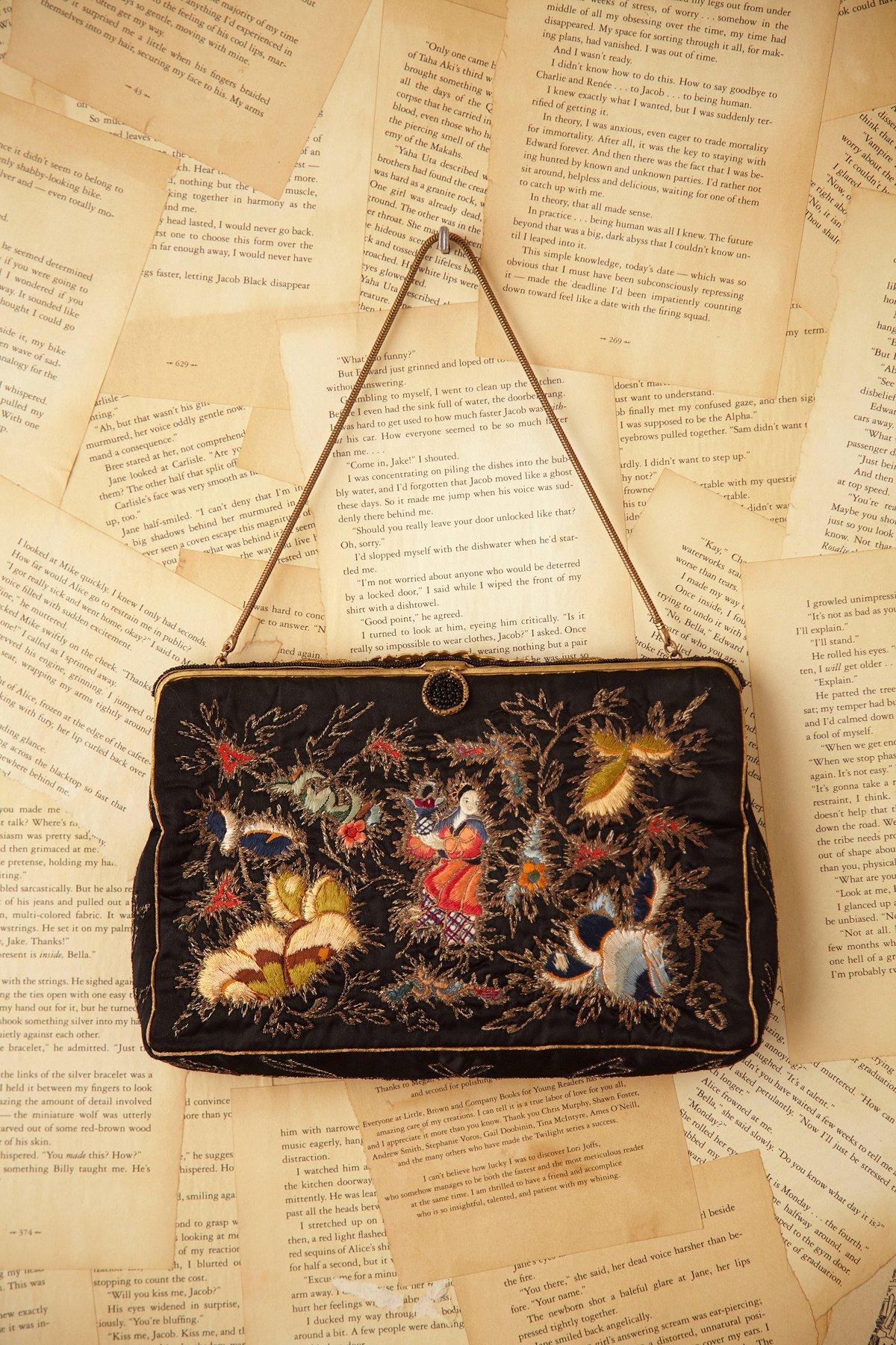 Vintage Black Embroidered Silk Purse