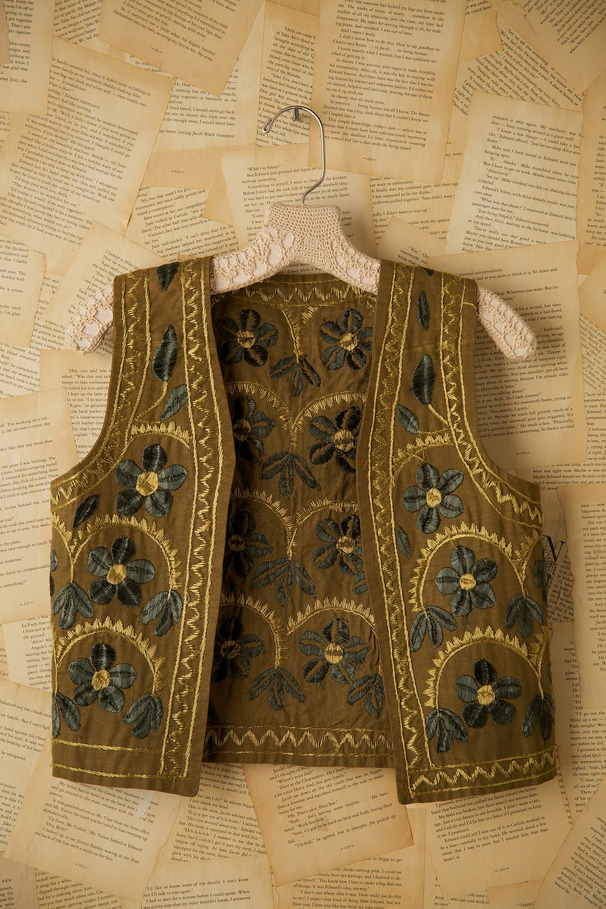 Vintage Green Vest with Embroidery