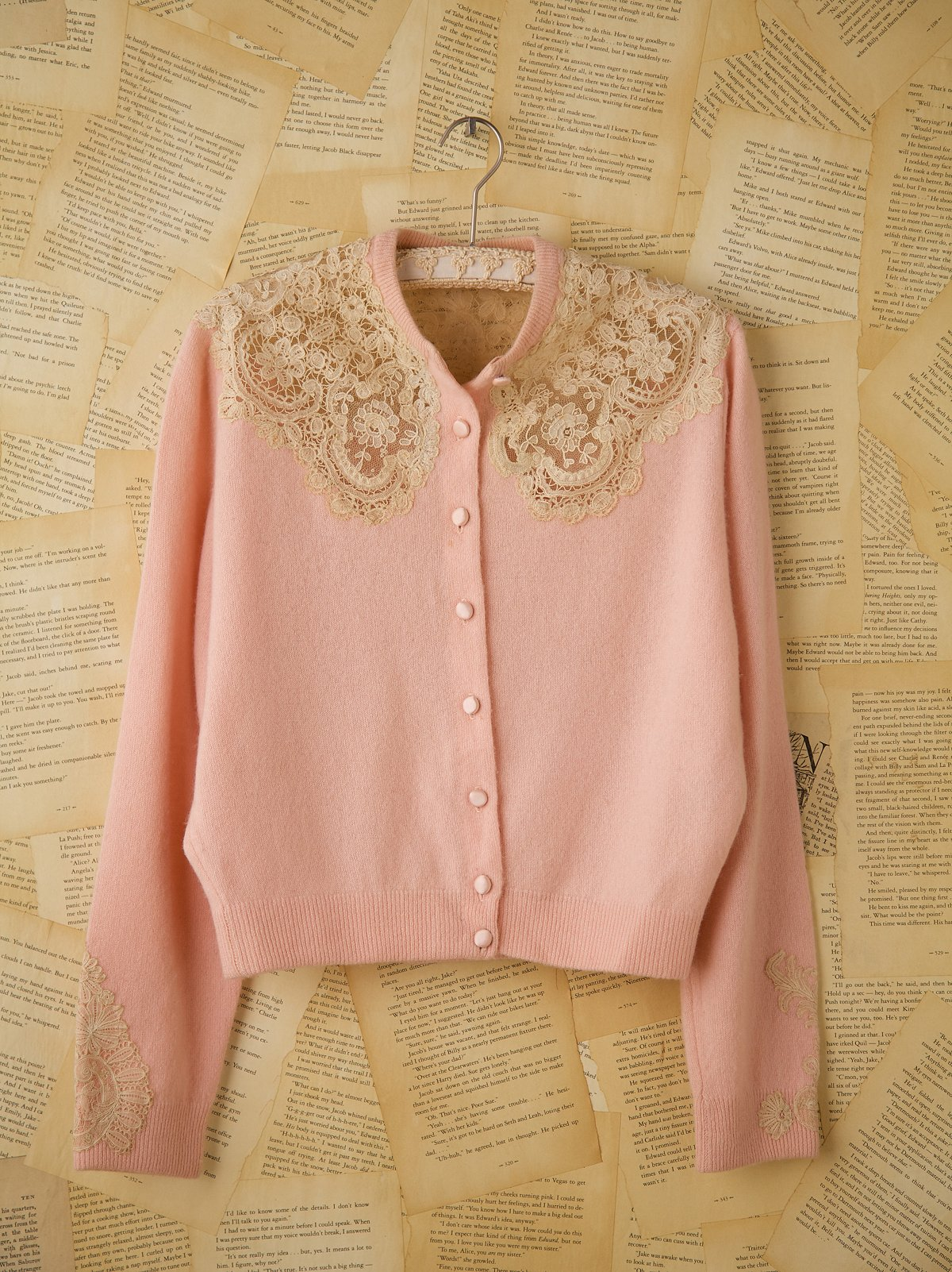Vintage Pink Cashmere Cardigan with Lace