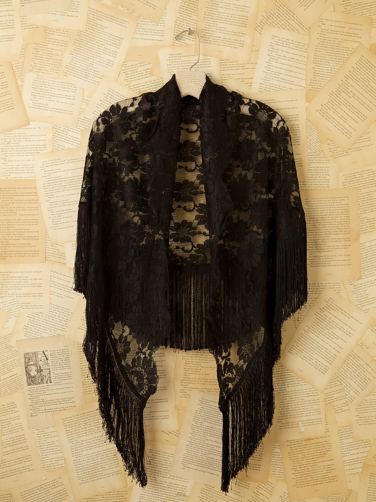 Vintage Black Lace Shawl with Fringe