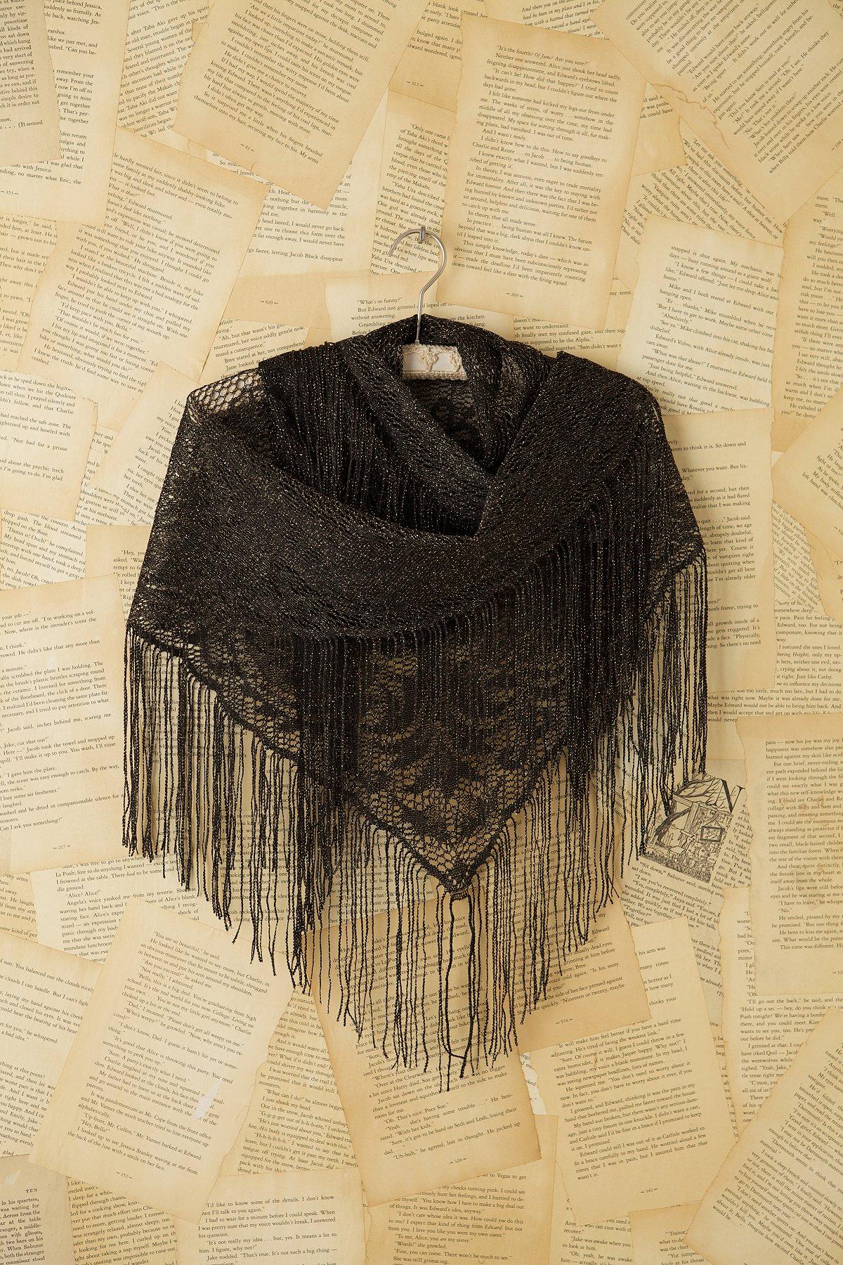 Vintage Black Lace Shawl with Fringe