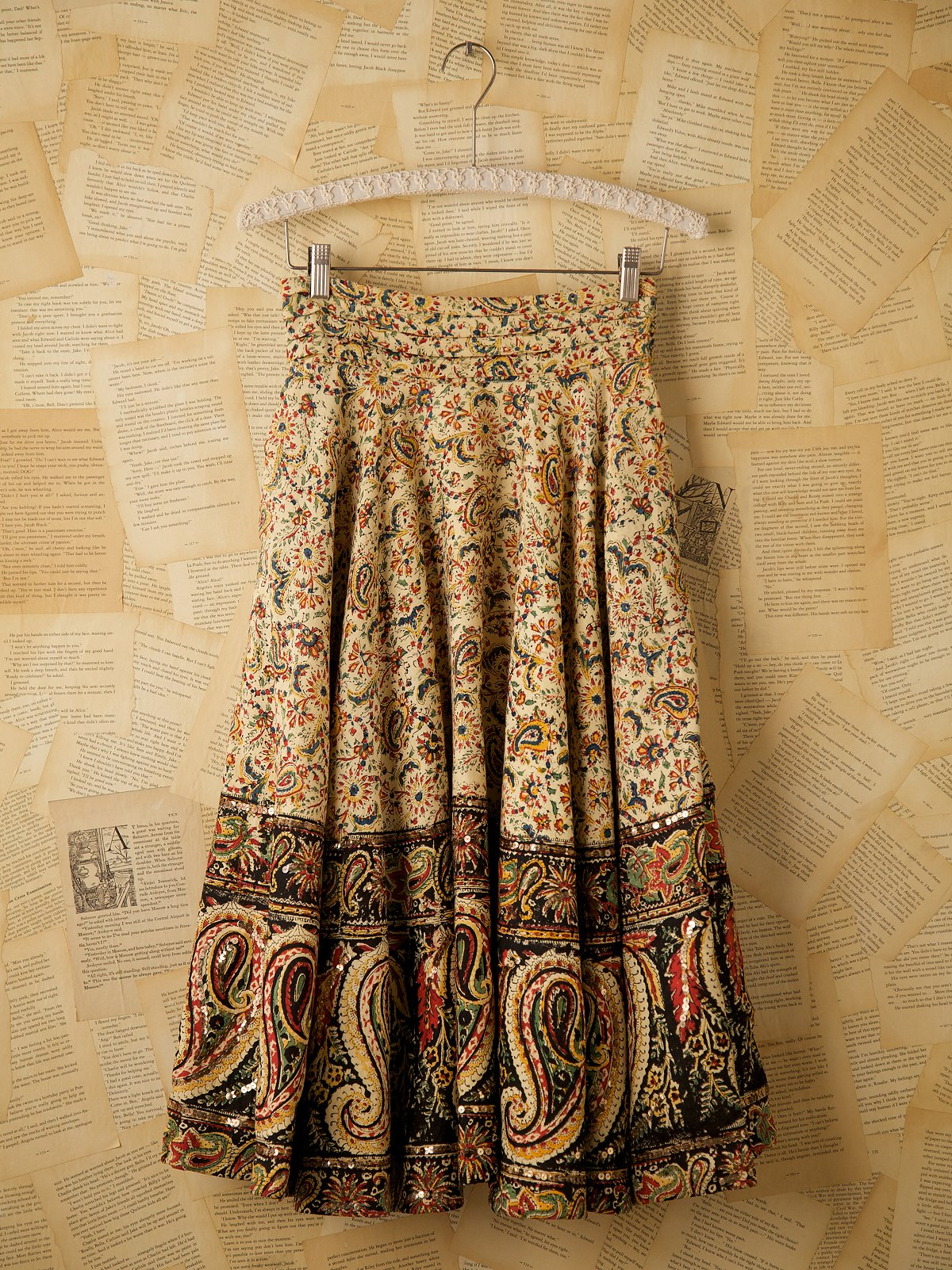 Vintage Paisley Sequin Skirt