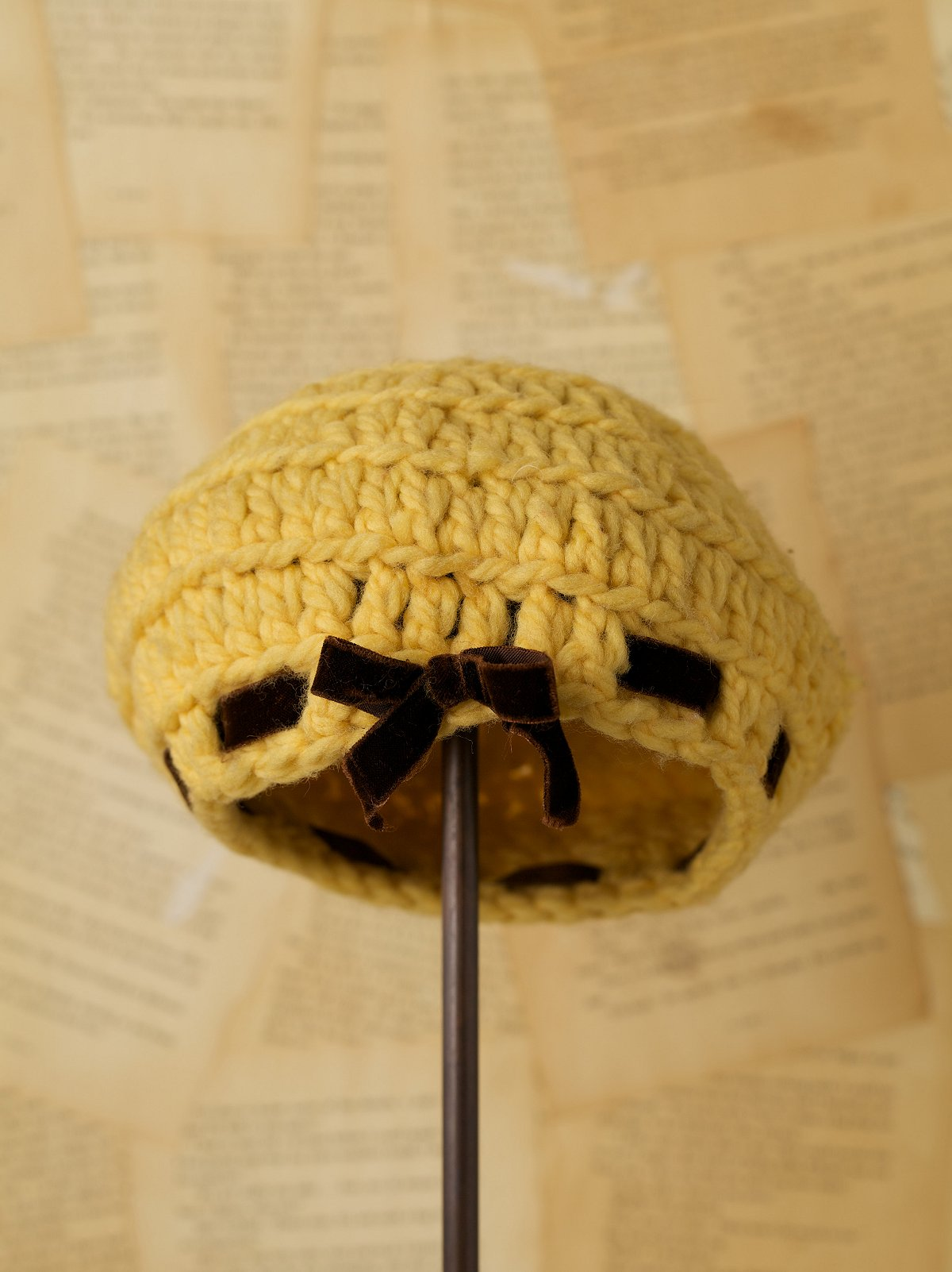 Vintage Yellow Knit Beret