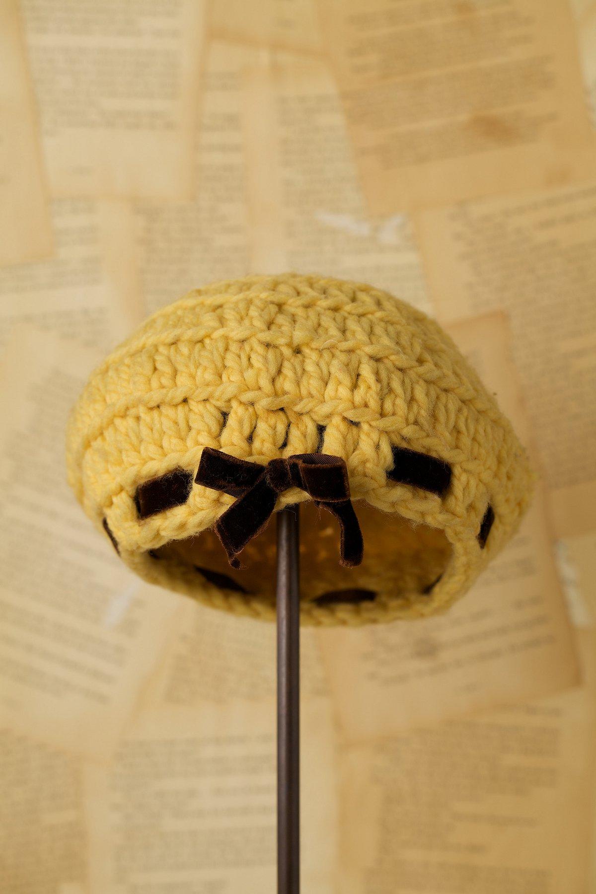 Vintage Yellow Knit Beret