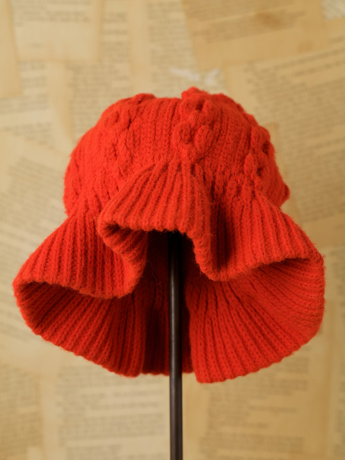 Vintage Red Knit Bucket Hat