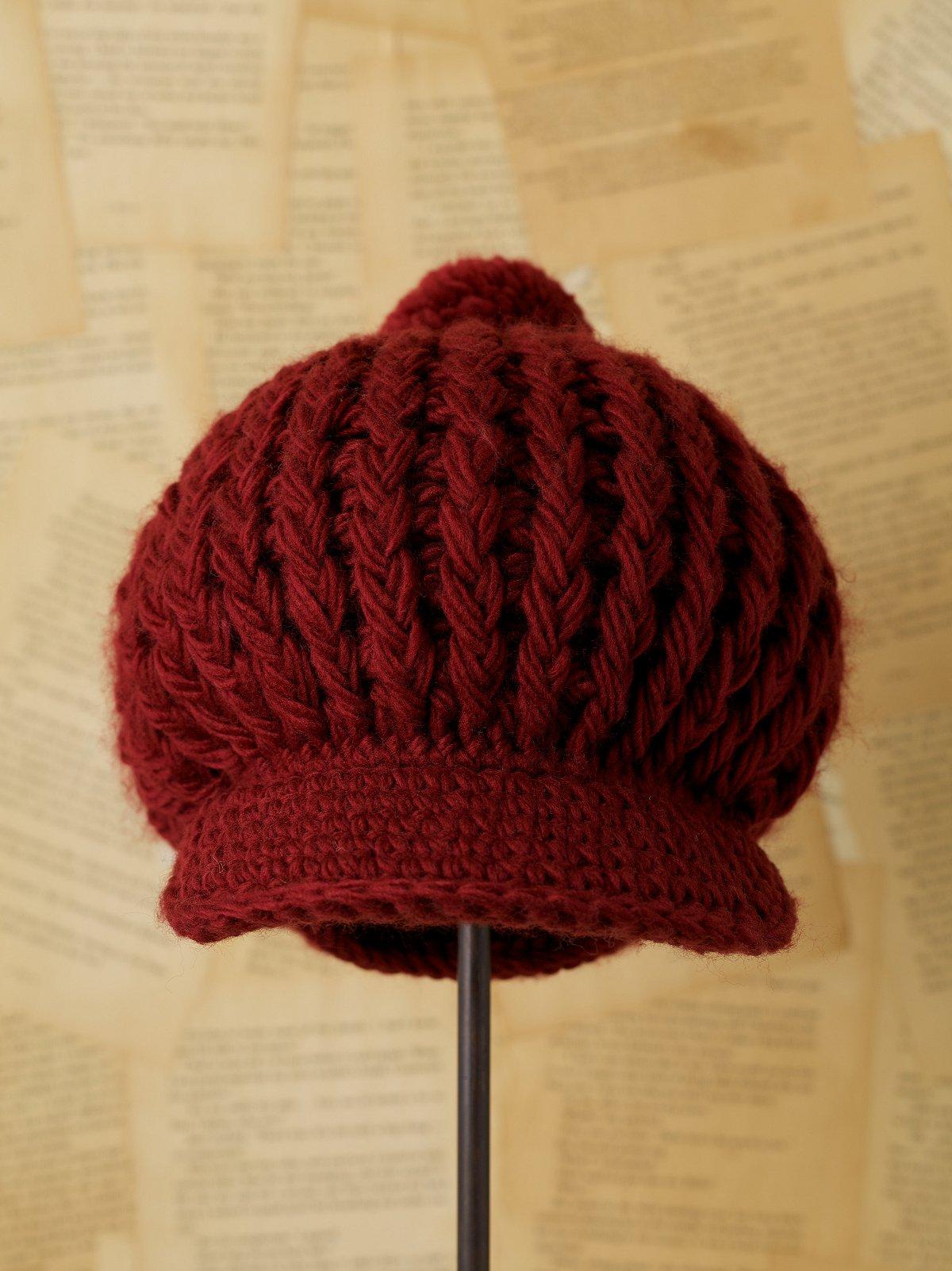 Vintage Burgundy Knit Hat