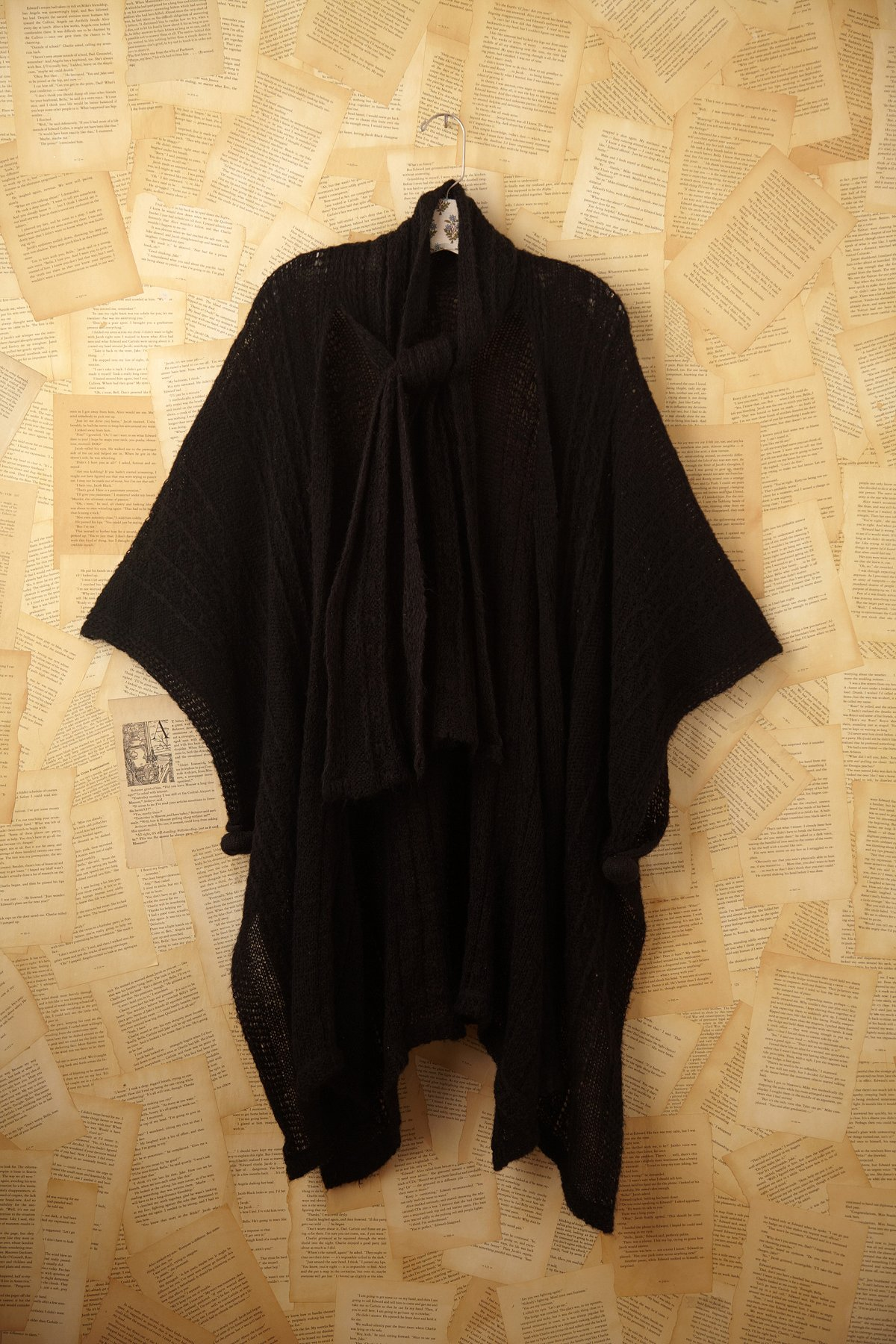 Vintage Black Knit Shawl