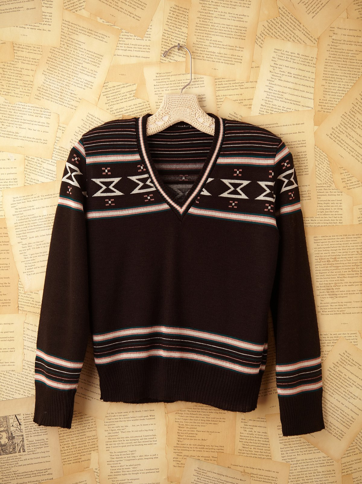 Vintage Black V Neck Sweater