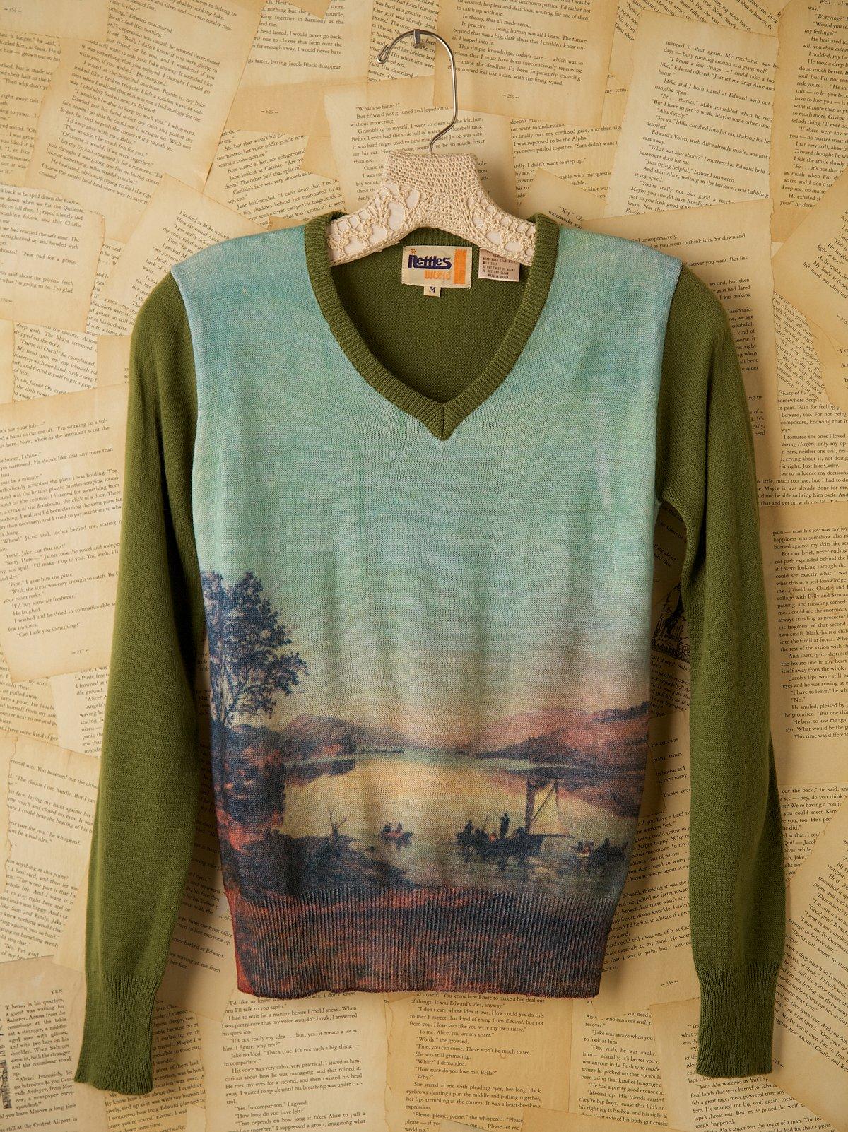 Vintage Green Sweater with Landscape Design