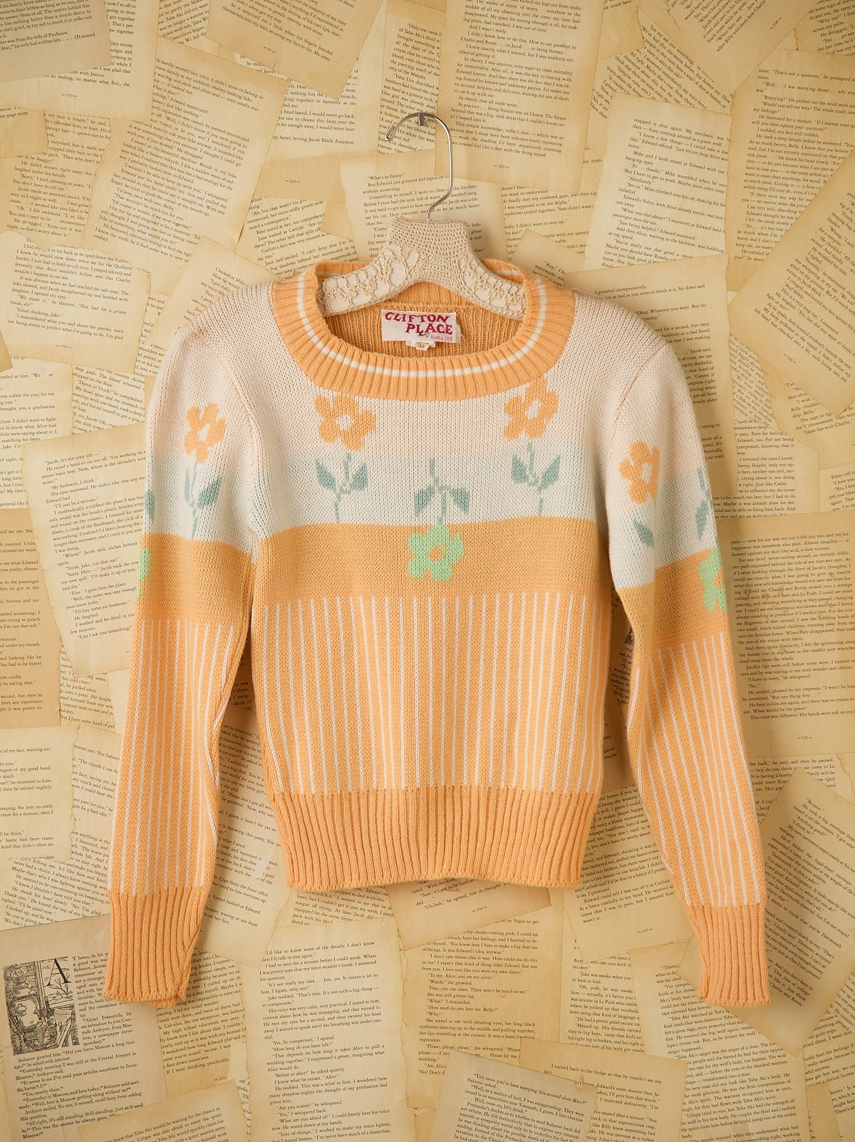 Vintage Pink Crew Neck Flower Sweater