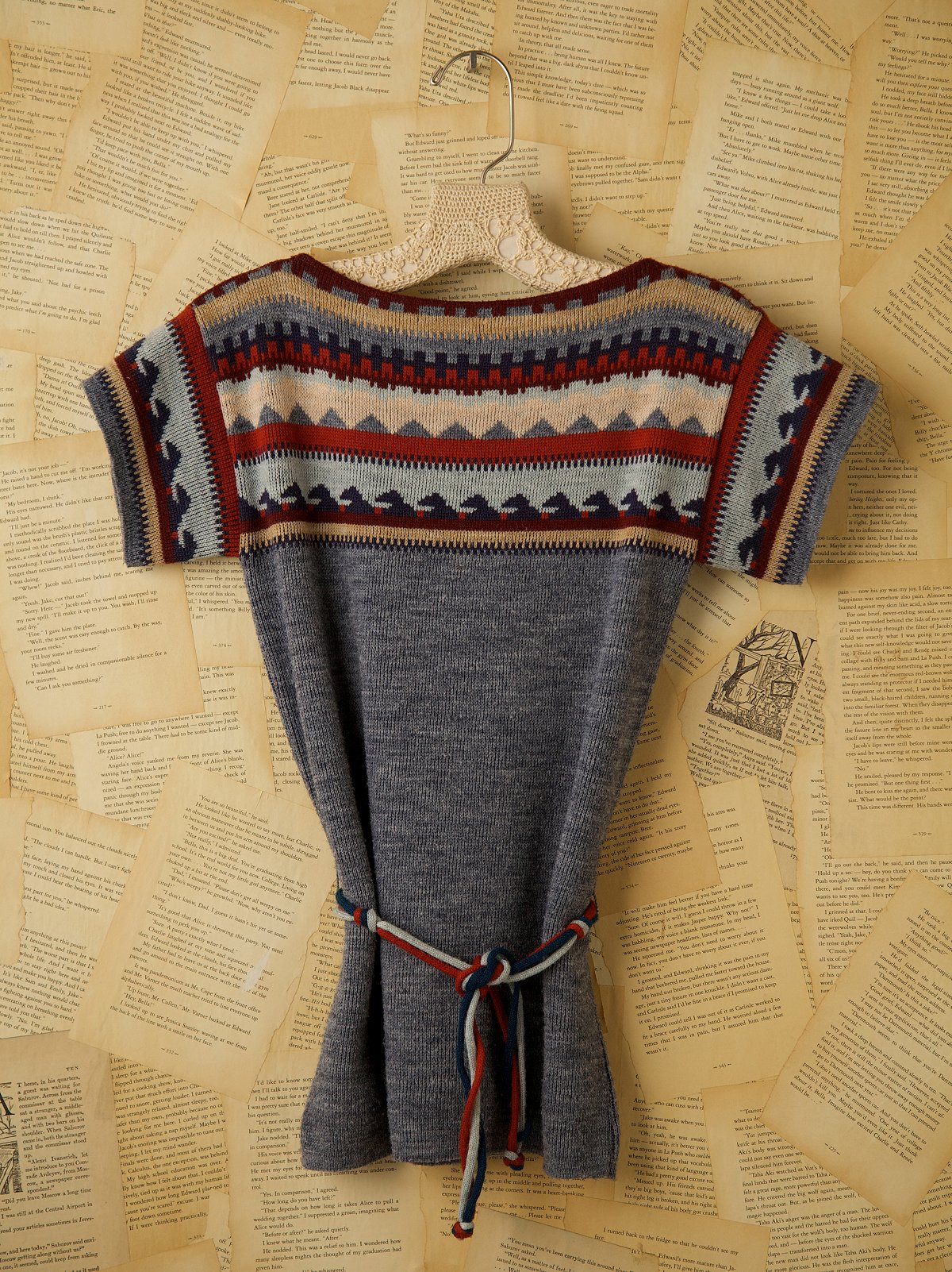 Vintage Short Sleeve Sweater with Belt