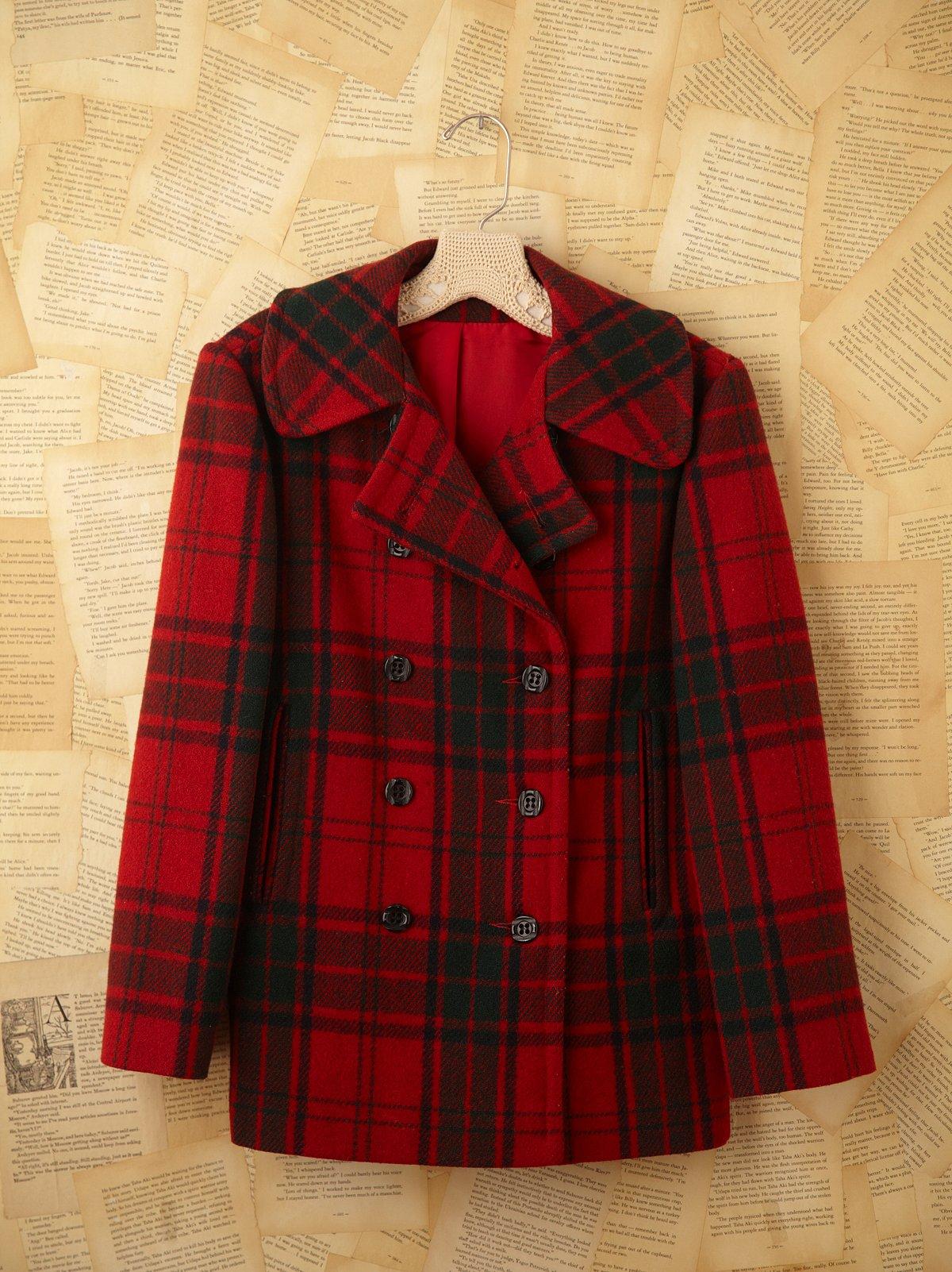 Vintage Plaid Pea Coat