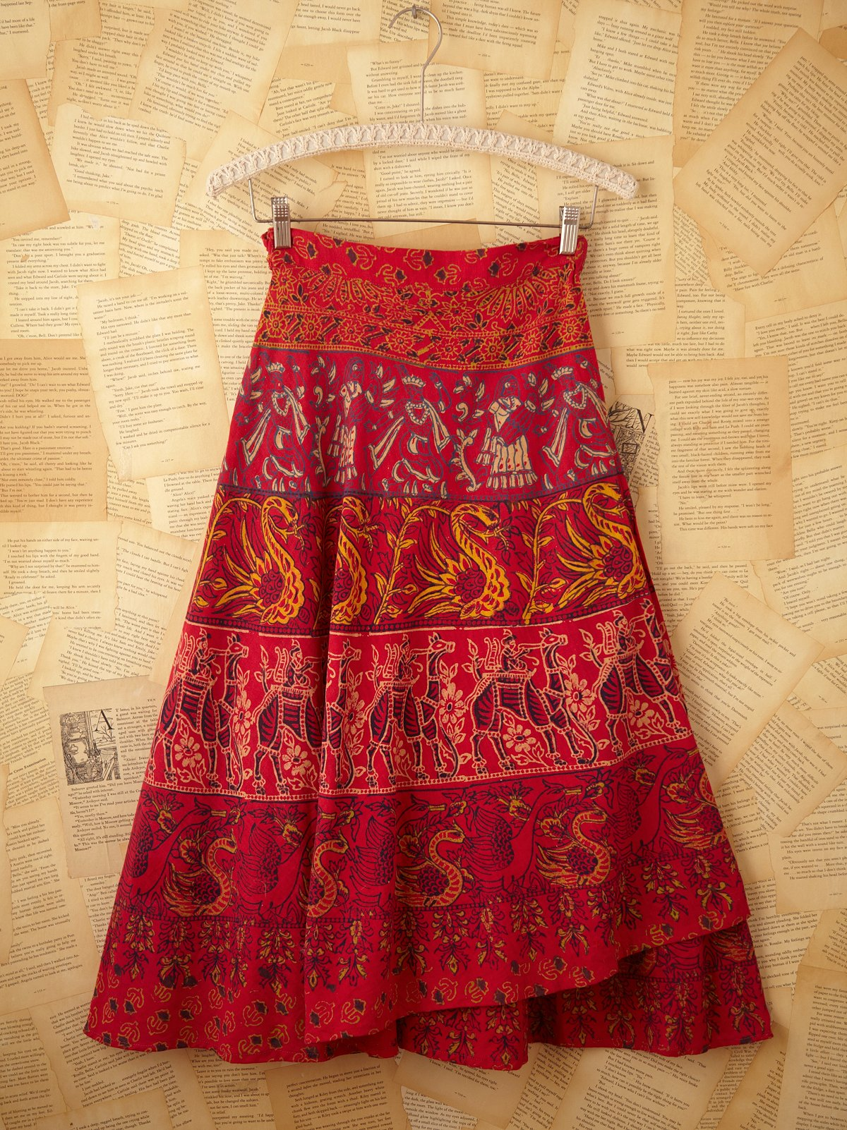 Vintage Printed Wrap Skirt