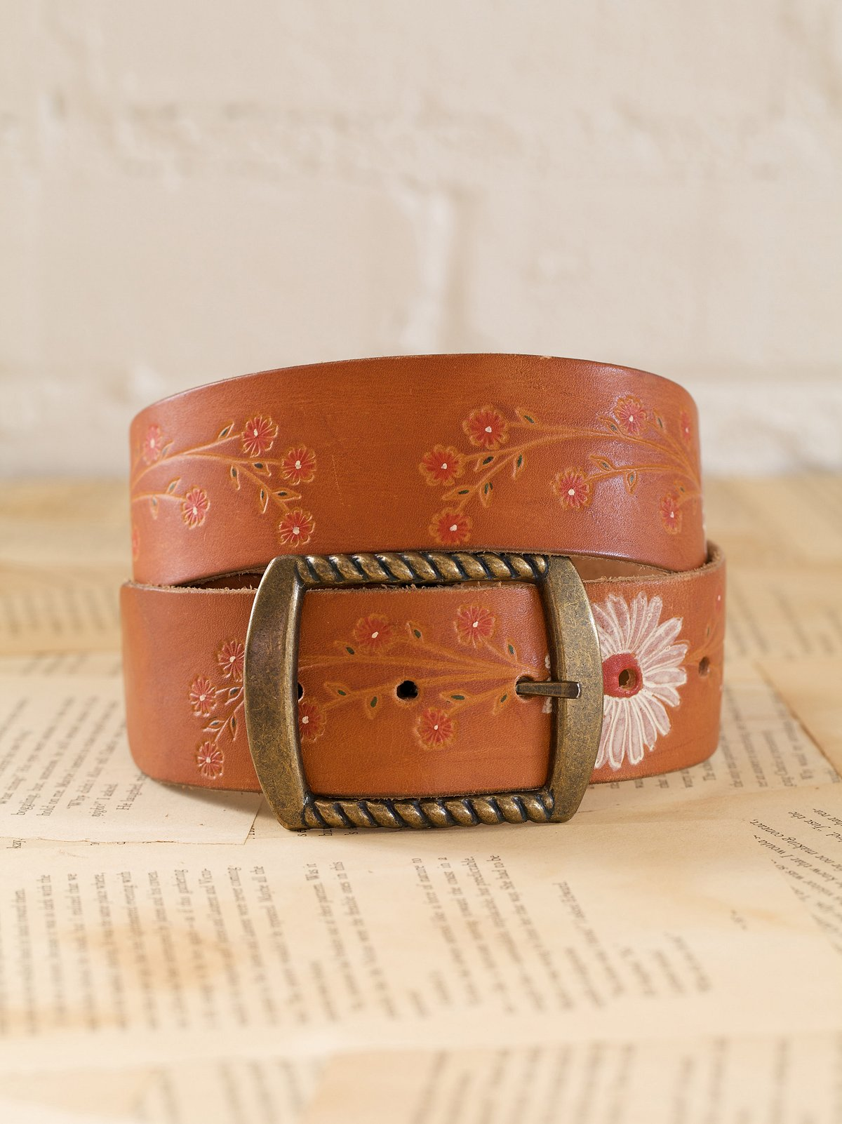 Vintage Leather Belt with Painted Flower Details