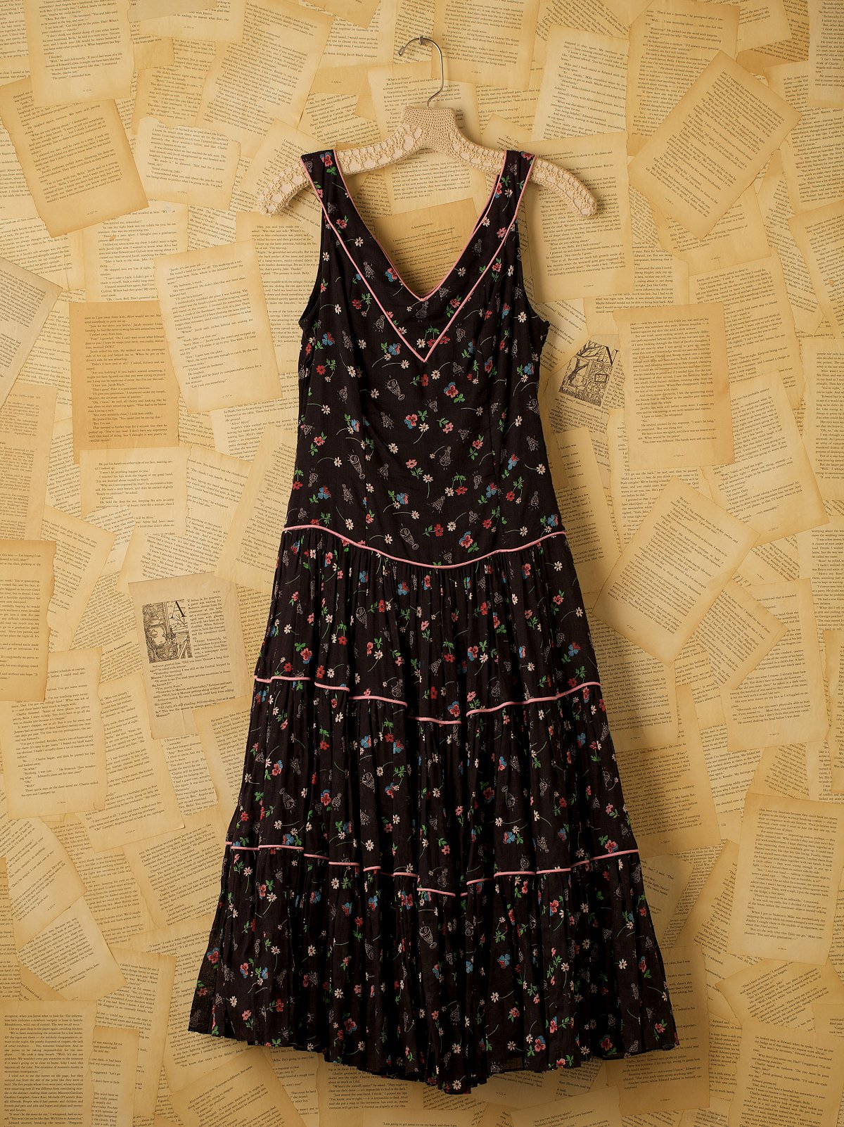 Vintage Black Jackie Morgan Dress with Flower Print