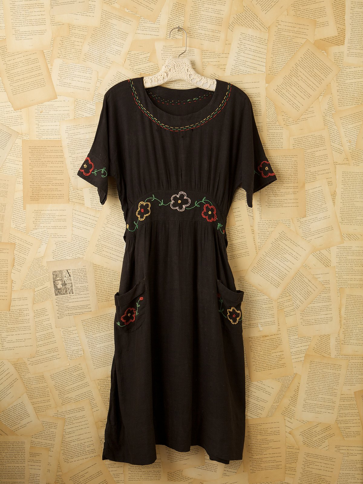 Vintage Black Cotton Embroidered Dress