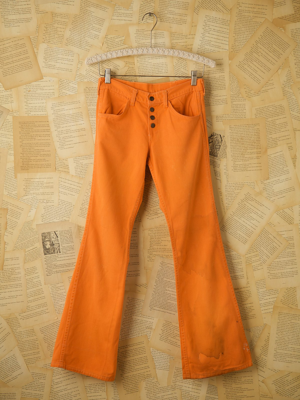 Vintage Button Fly Orange Bell Bottoms