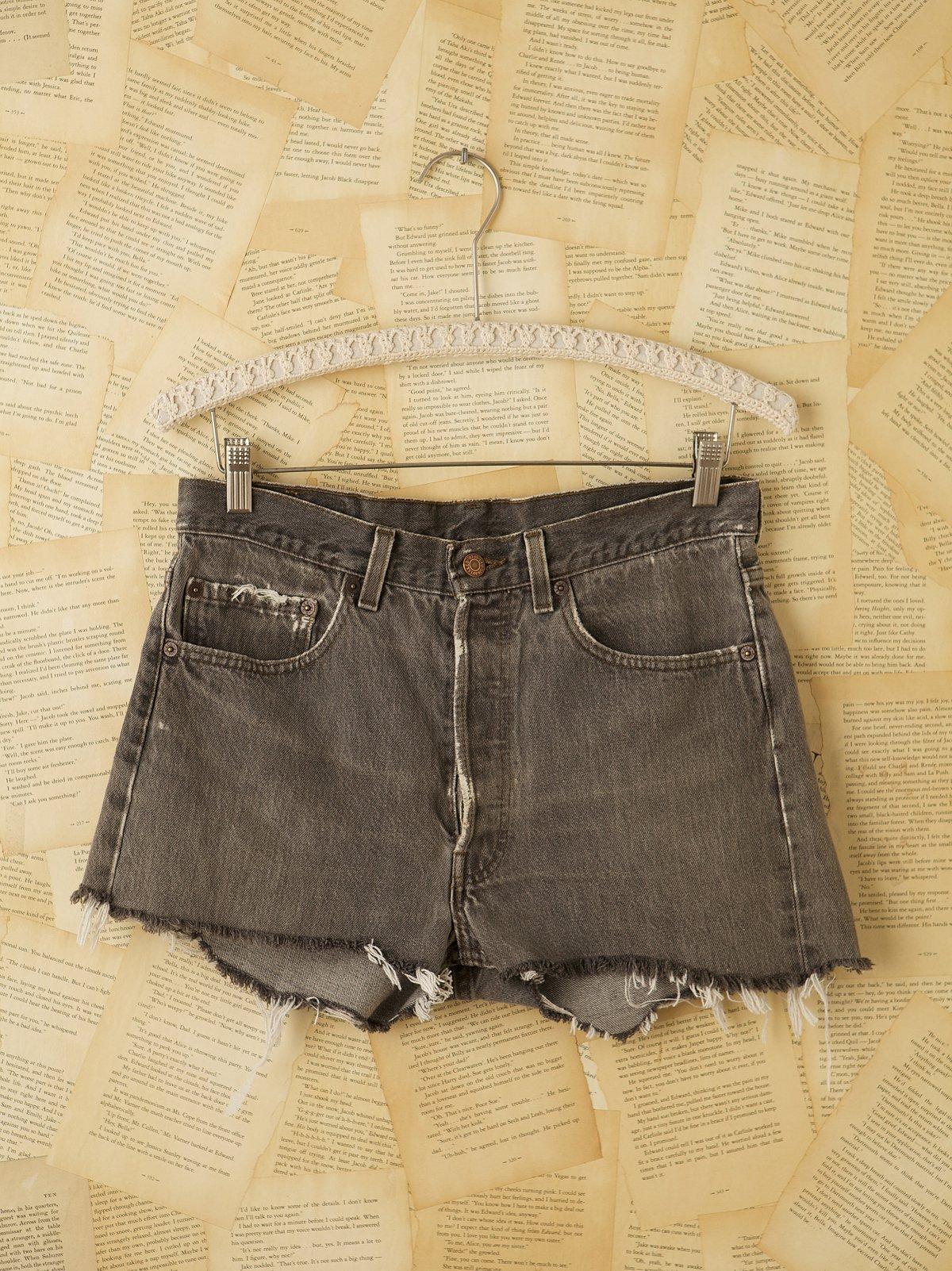 Vintage Grey Denim Cutoff Short