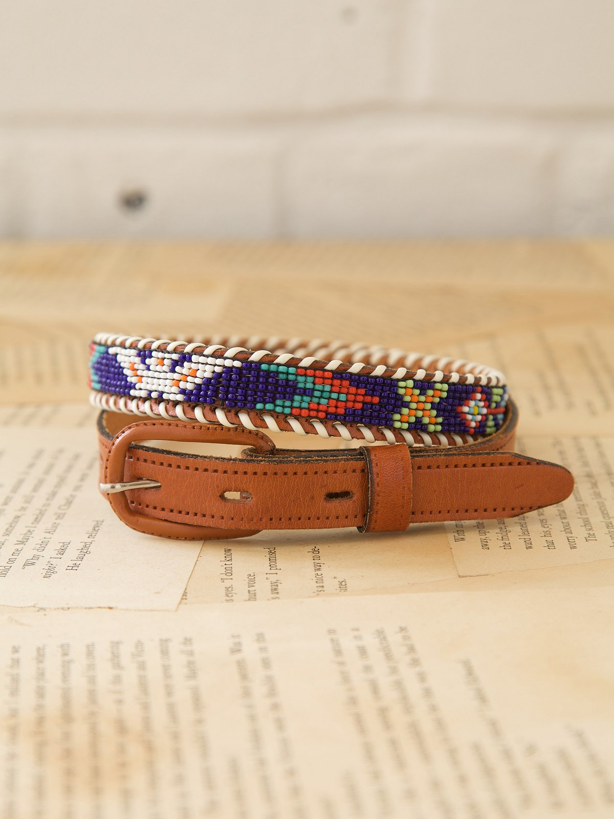 Vintage Leather Beaded Belt