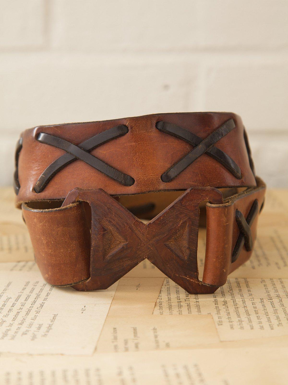 Vintage Leather X-Weave Belt