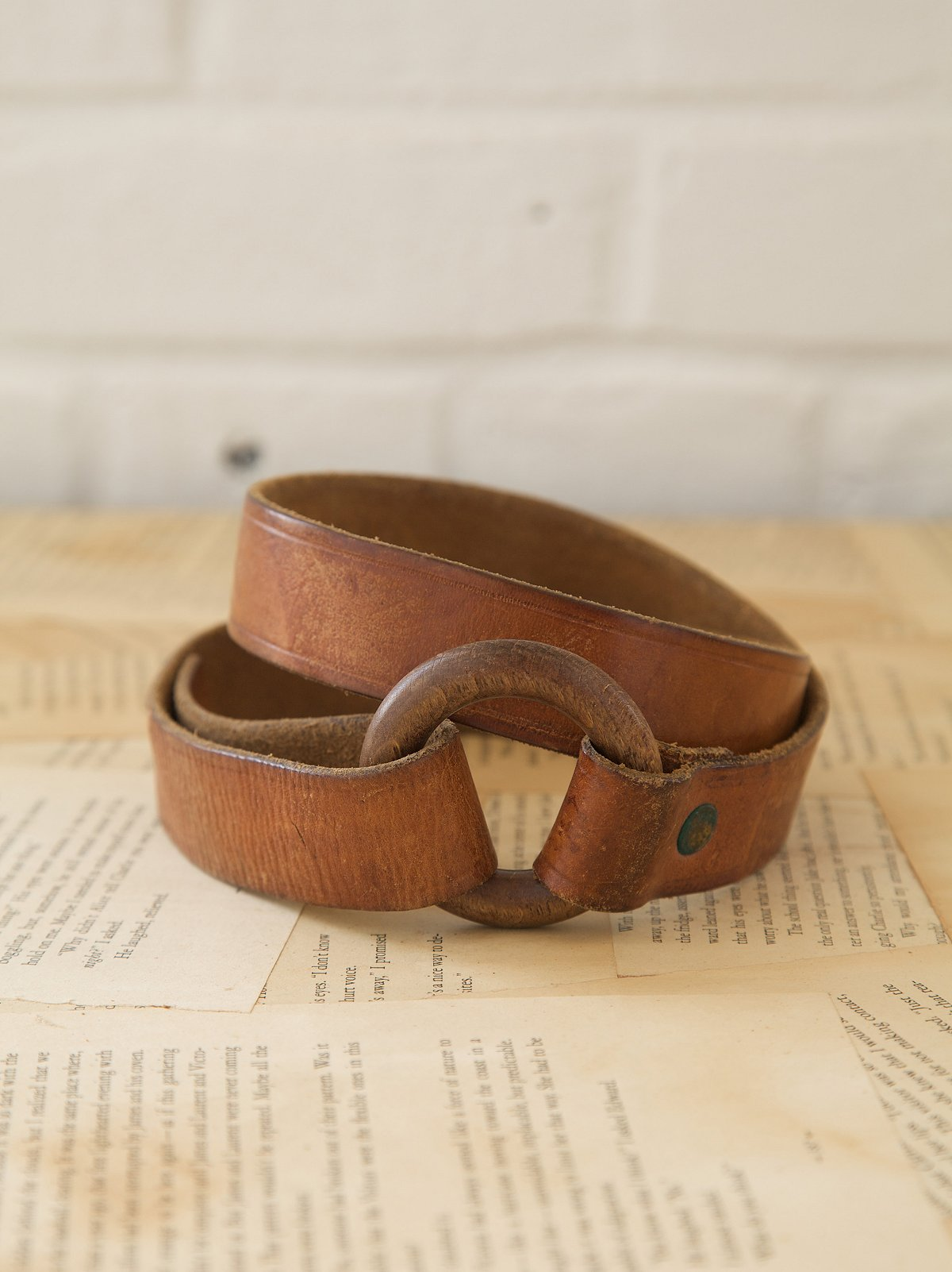 Vintage Leather Belt with Wooden Ring Closure