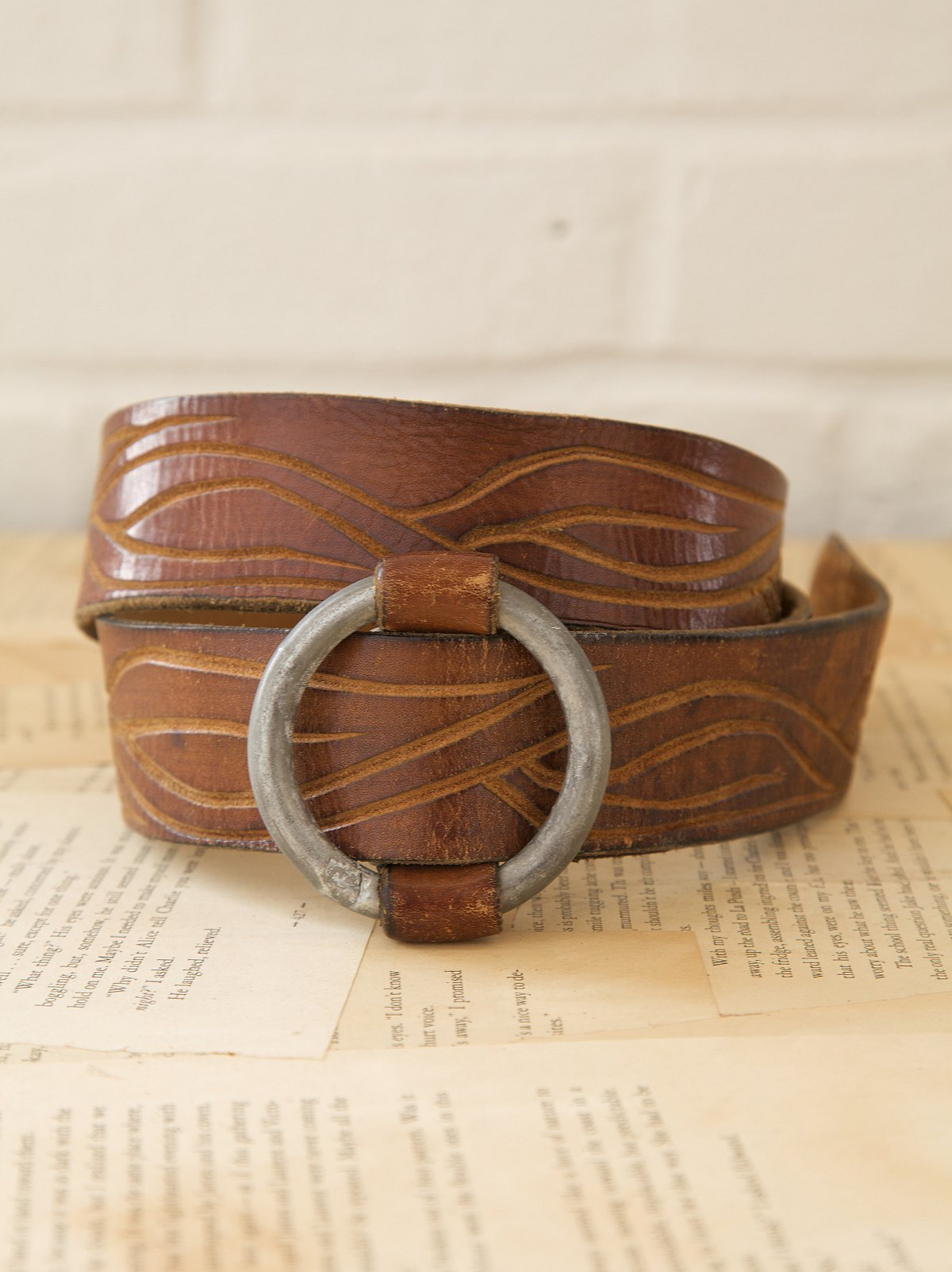 Vintage Leather Belt with Tooling