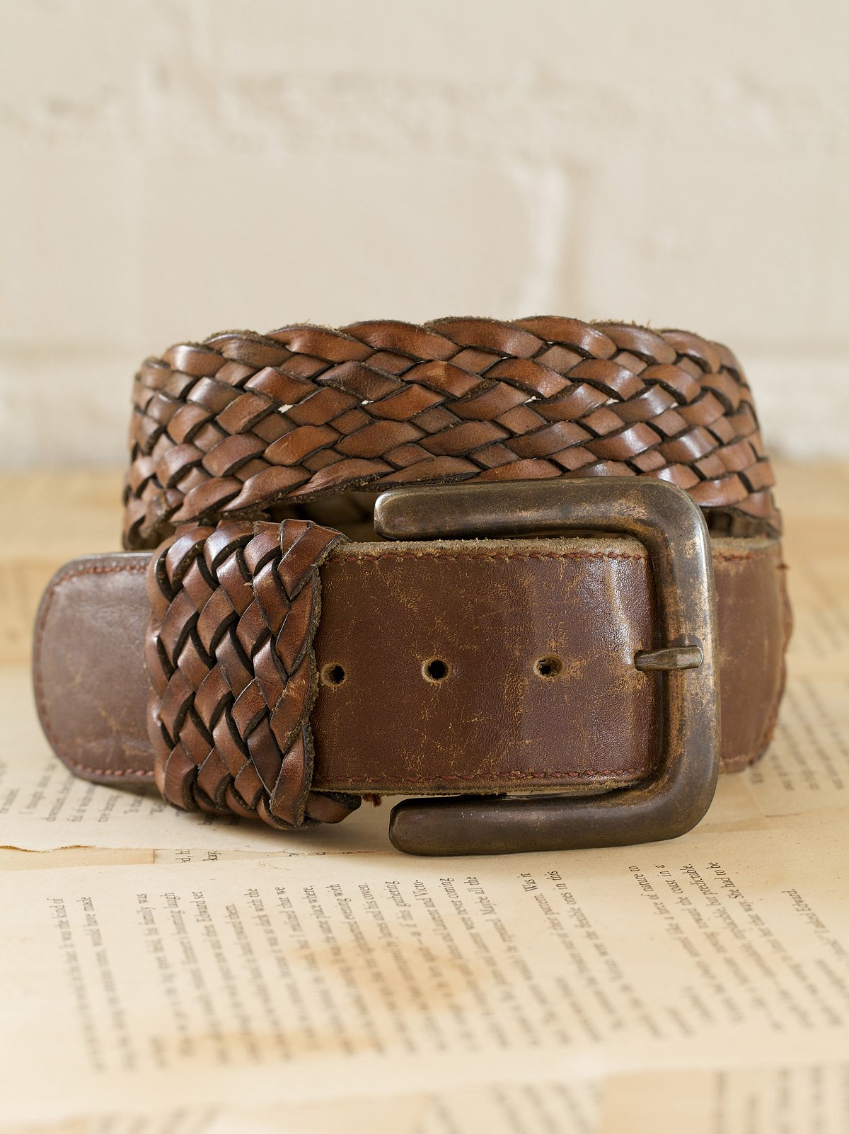 Vintage Leather Braided Belt