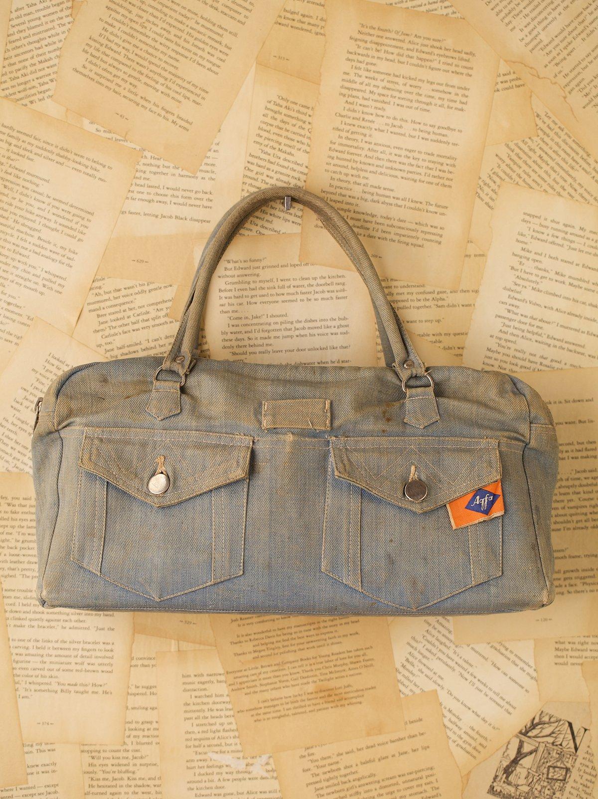 Vintage Denim Purse with Pockets