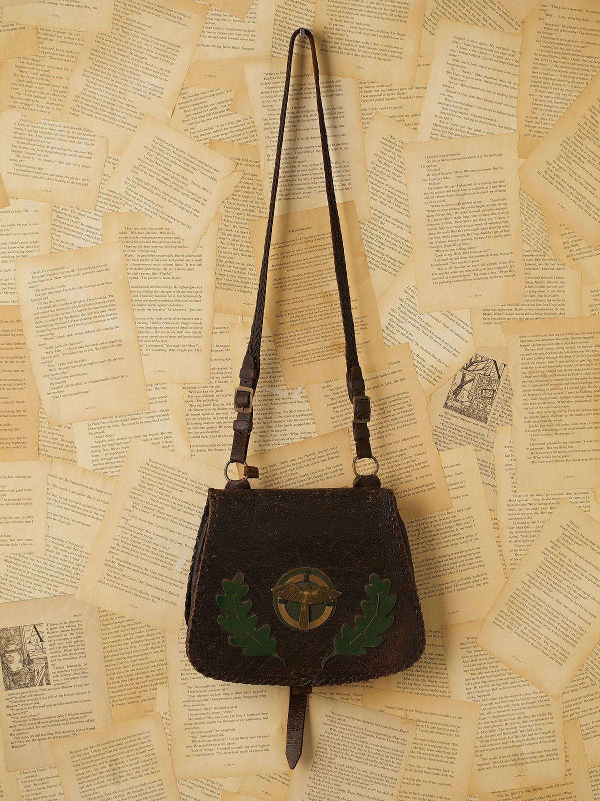 Vintage Saddle Bag with Leaf and Bird