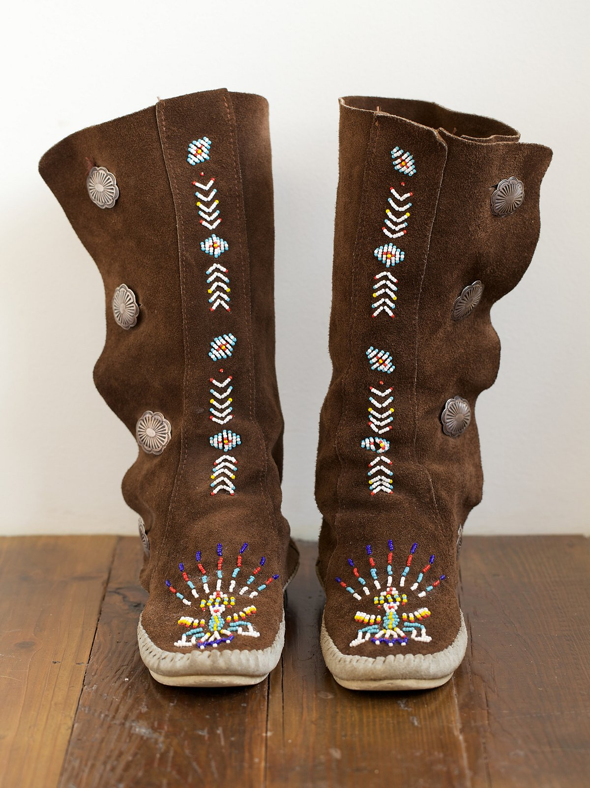 Vintage Tall Beaded Moccasin Boots