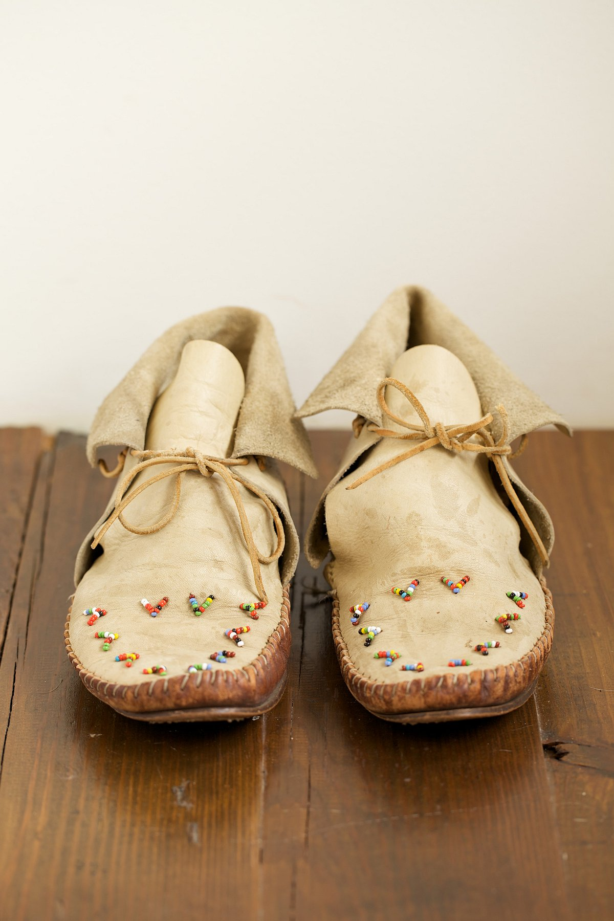 Vintage Leather Beaded Moccasins