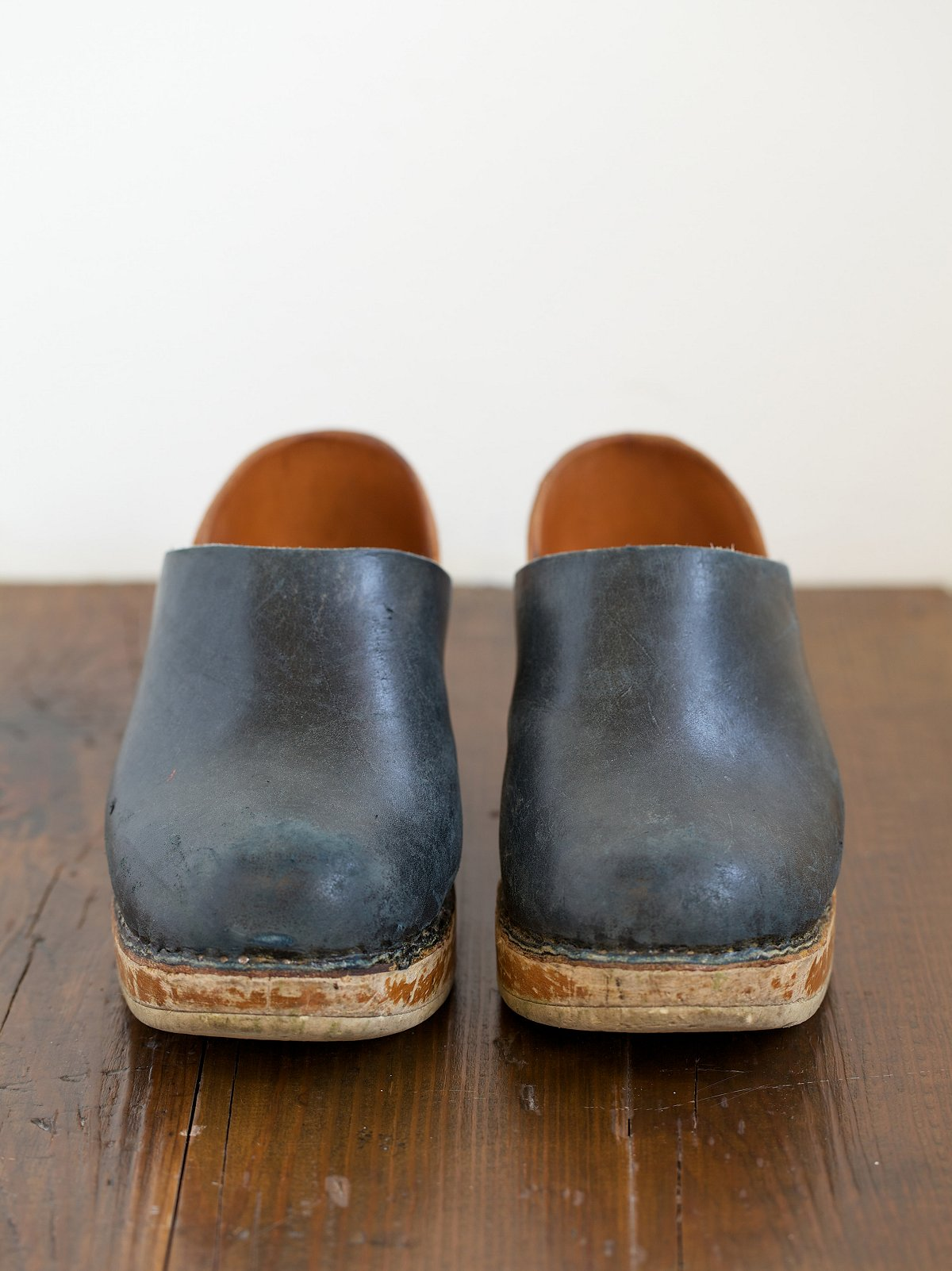 Vintage Black Leather and Wood Clogs