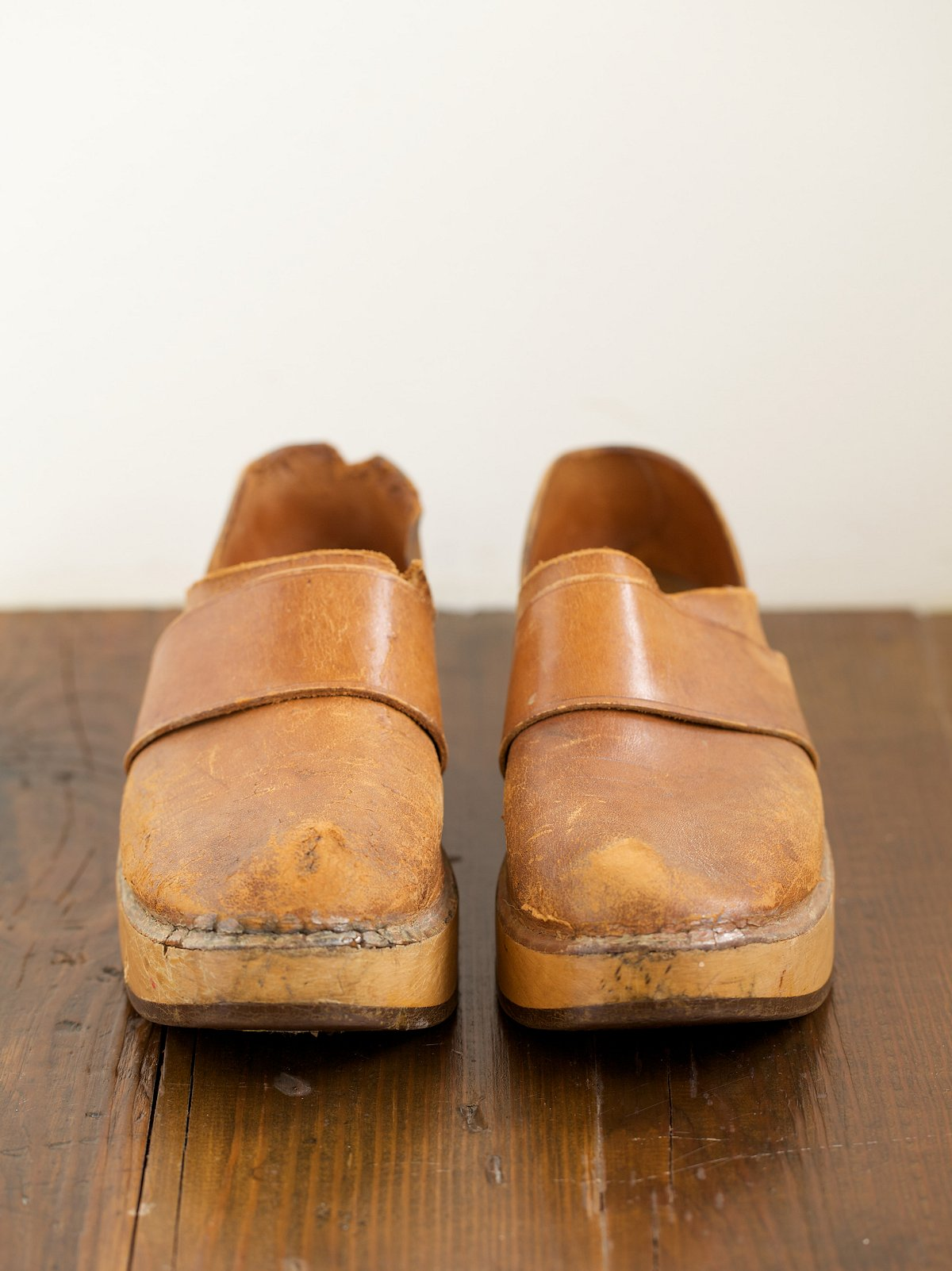 Vintage Leather and Wood Clogs