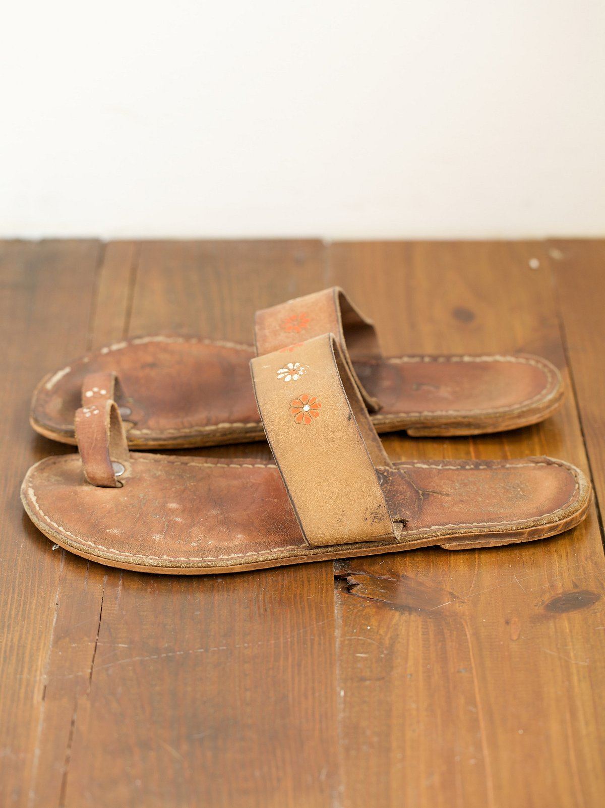 Vintage Painted Leather Thong Sandals