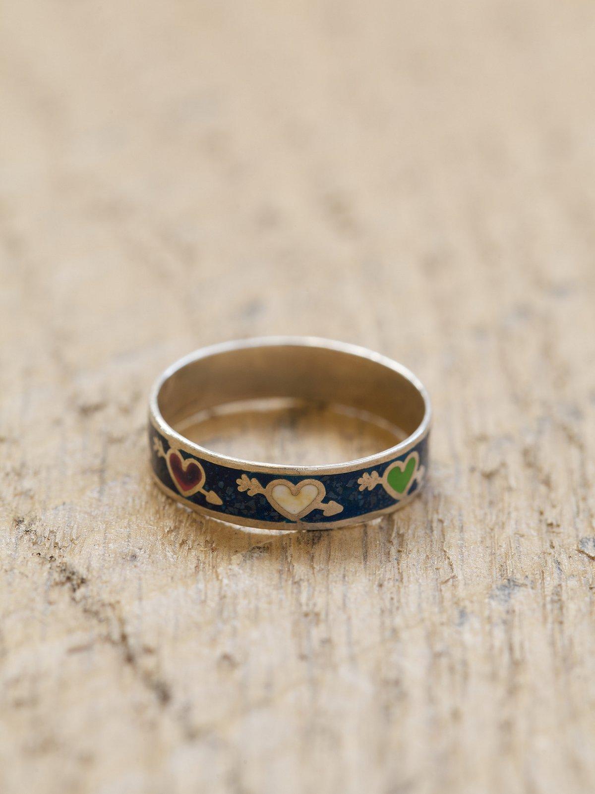 Vintage Silver Enameled Rings
