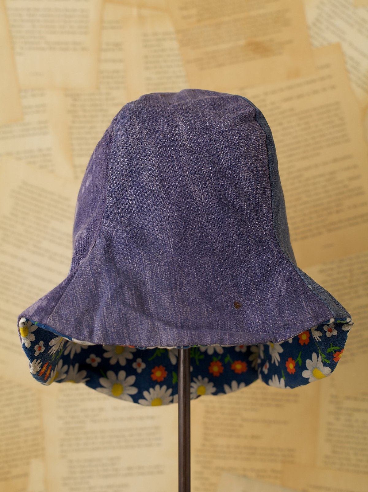 Vintage Denim Hat with Floral Lining