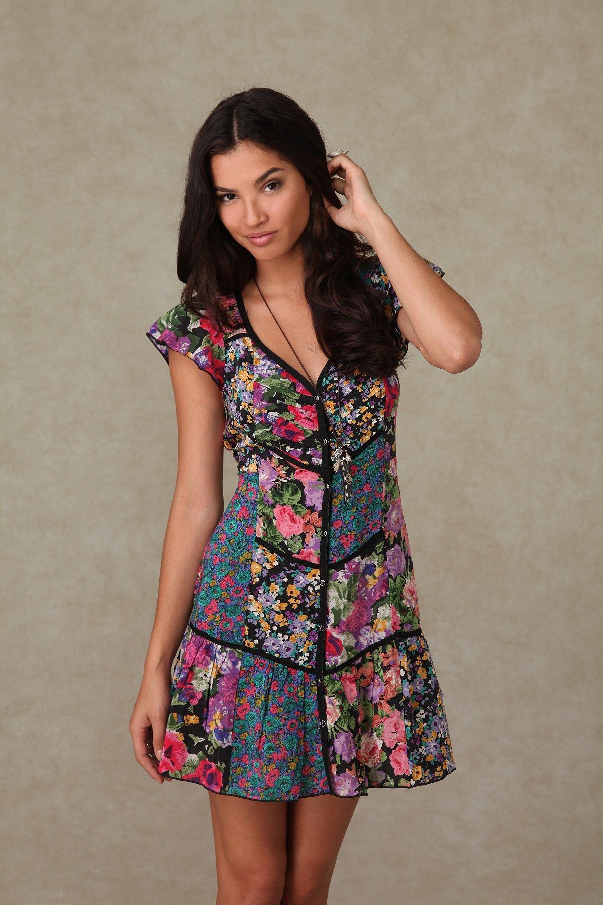 Printed Shapeless Patch Dress