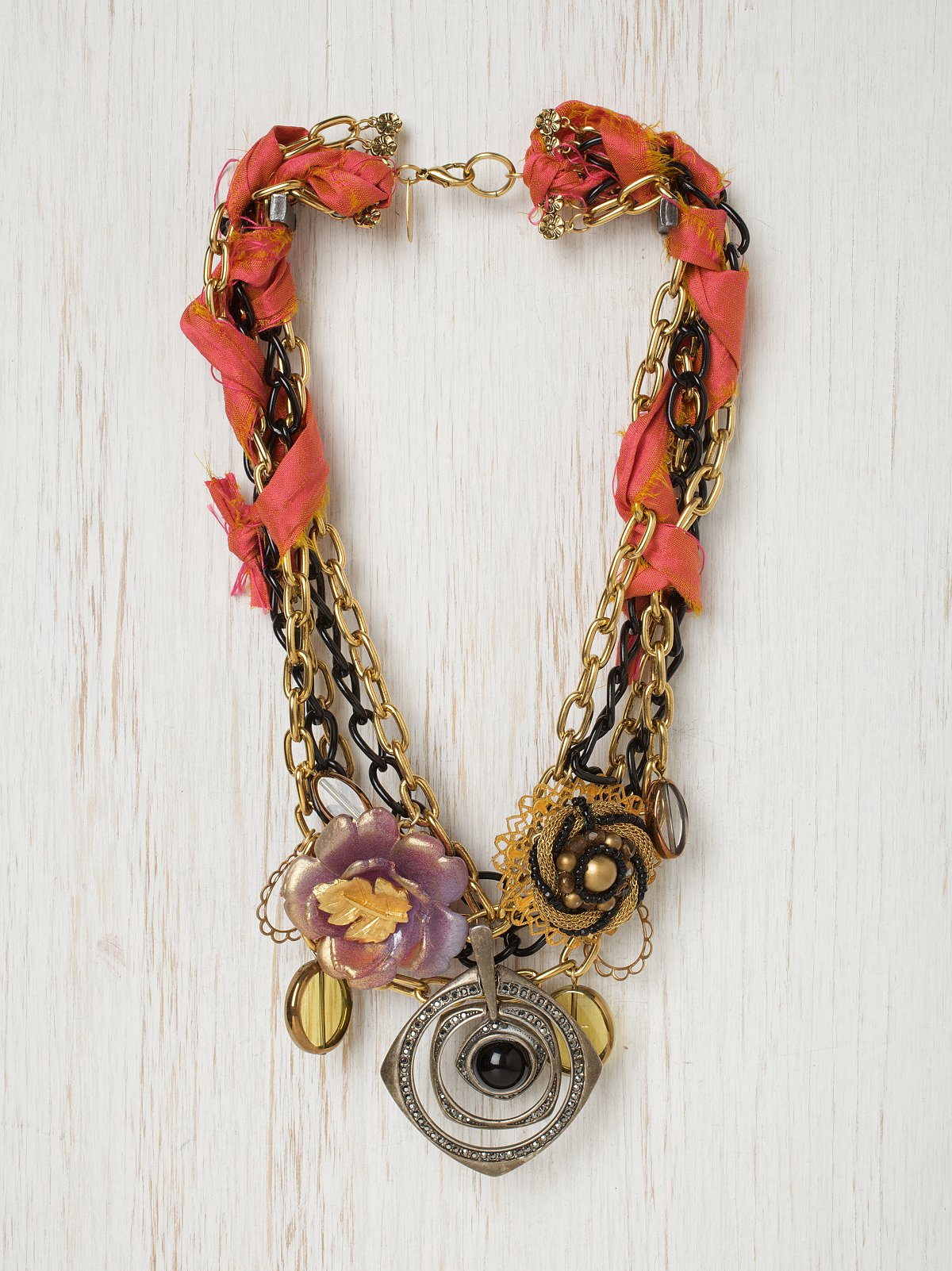 Coral Ribbon Glam Necklace
