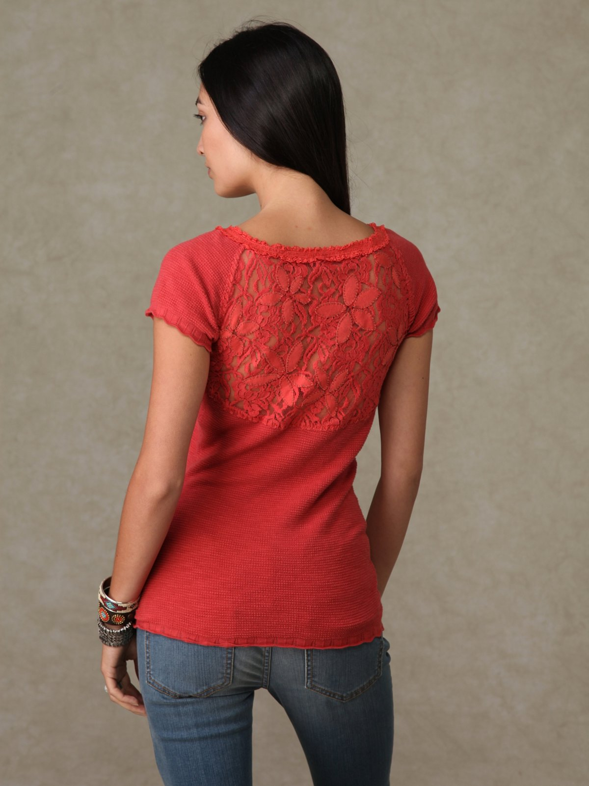 We the Free Short Sleeve Lace Back Sweater