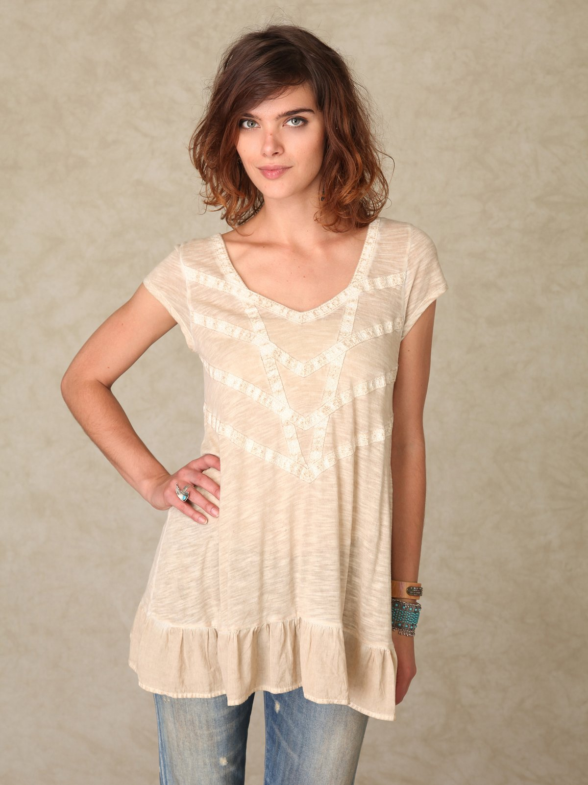 Short Sleeve Prism Flounce Tunic