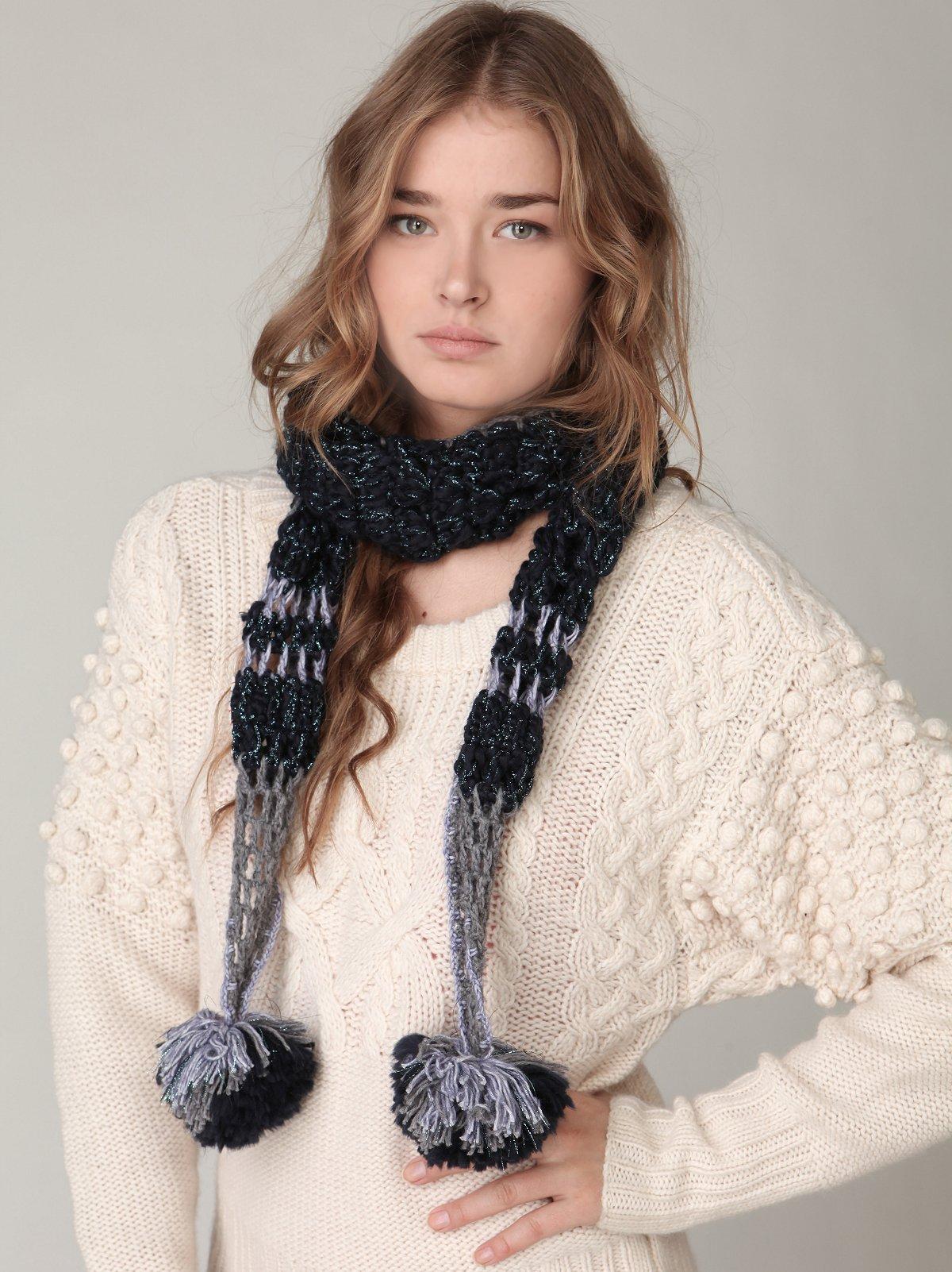 Skinny Crochet Pom Pom Scarf