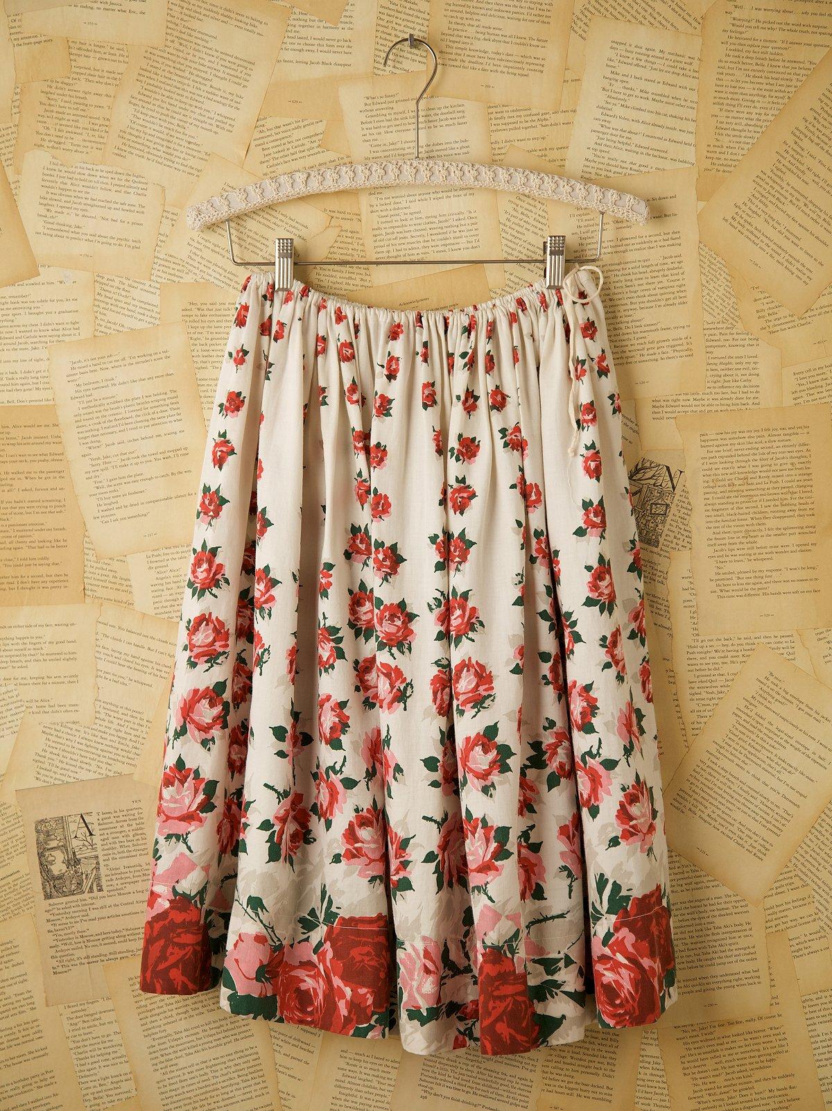Vintage Cream Floral Skirt